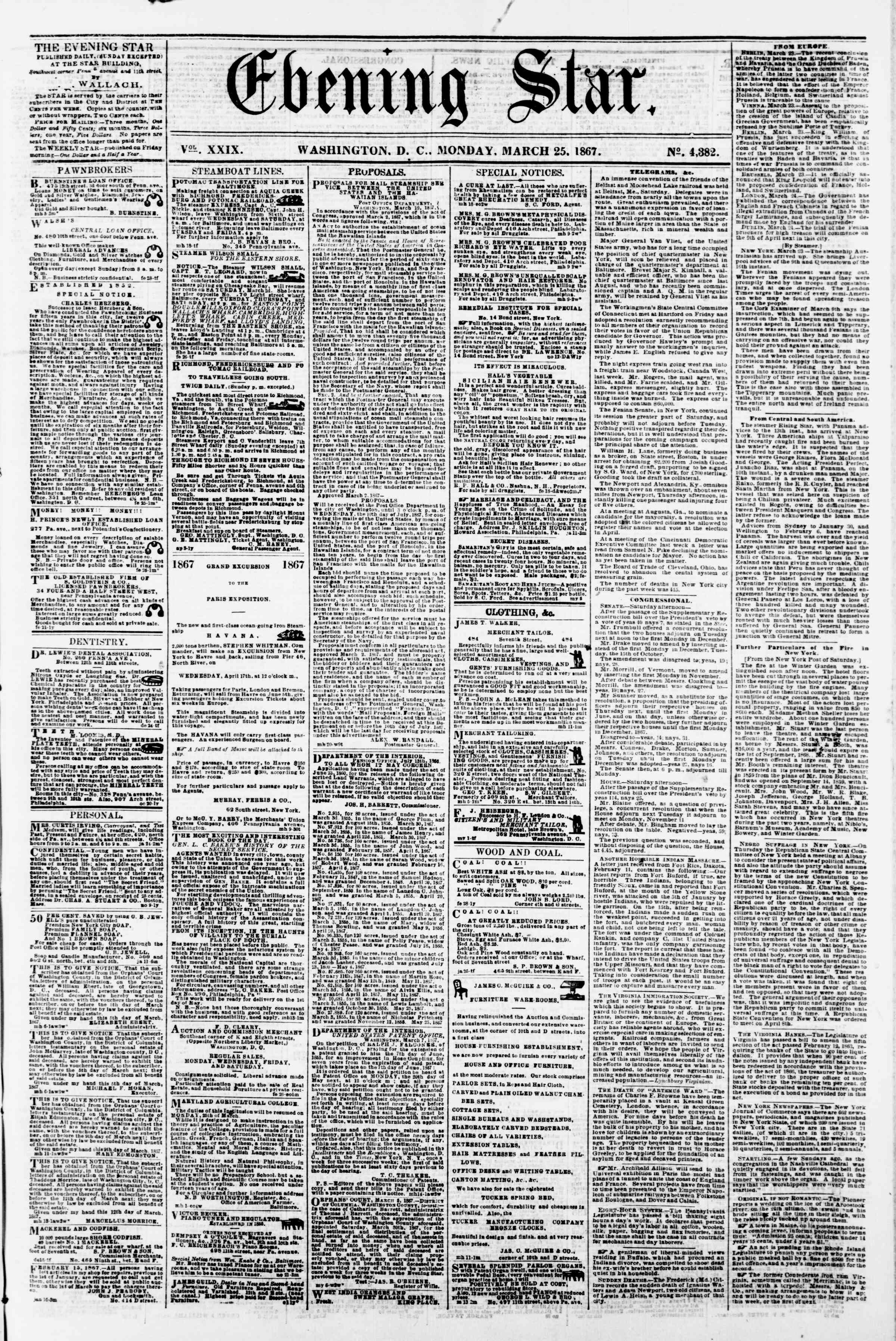 Newspaper of Evening Star dated March 25, 1867 Page 1