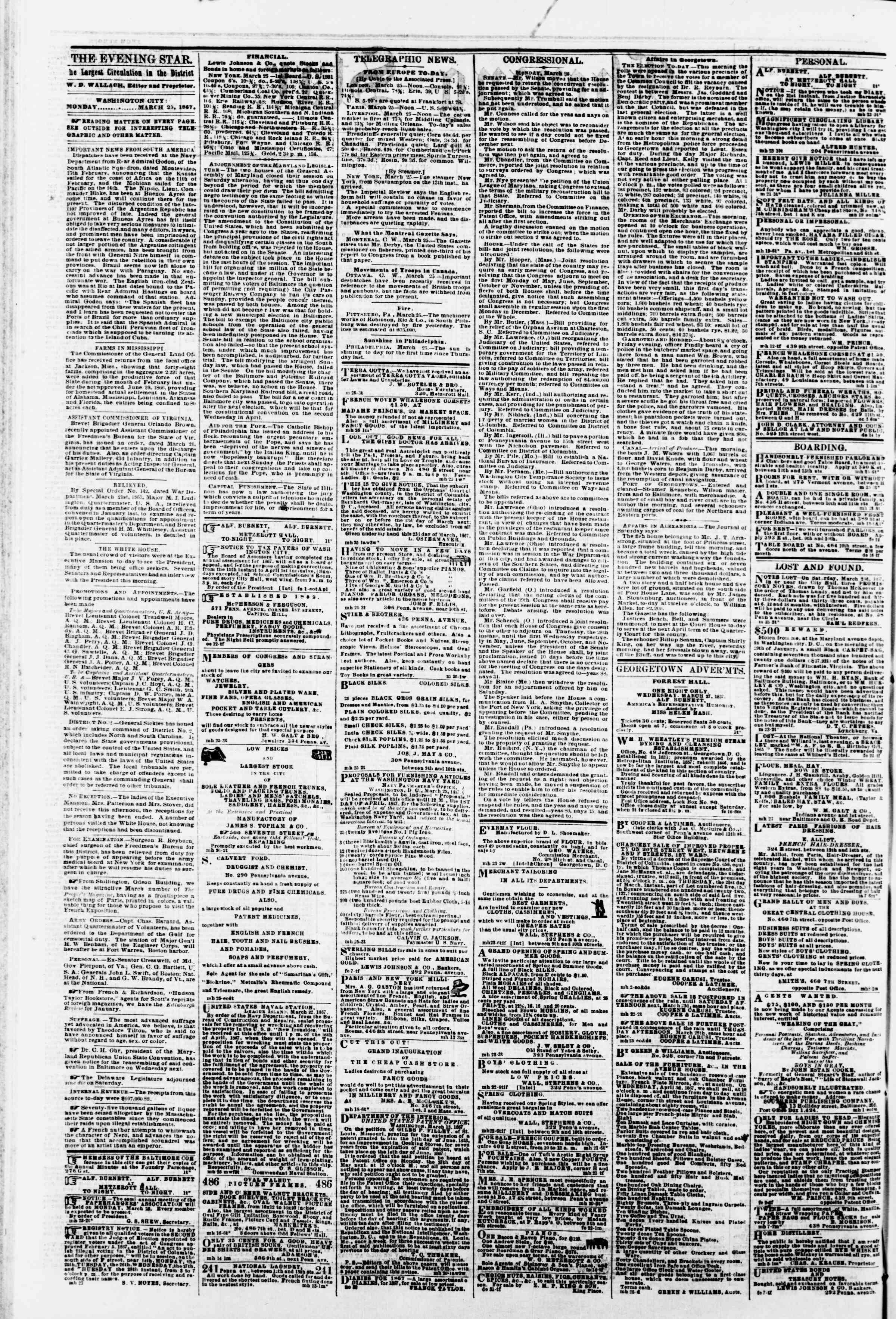 Newspaper of Evening Star dated March 25, 1867 Page 2