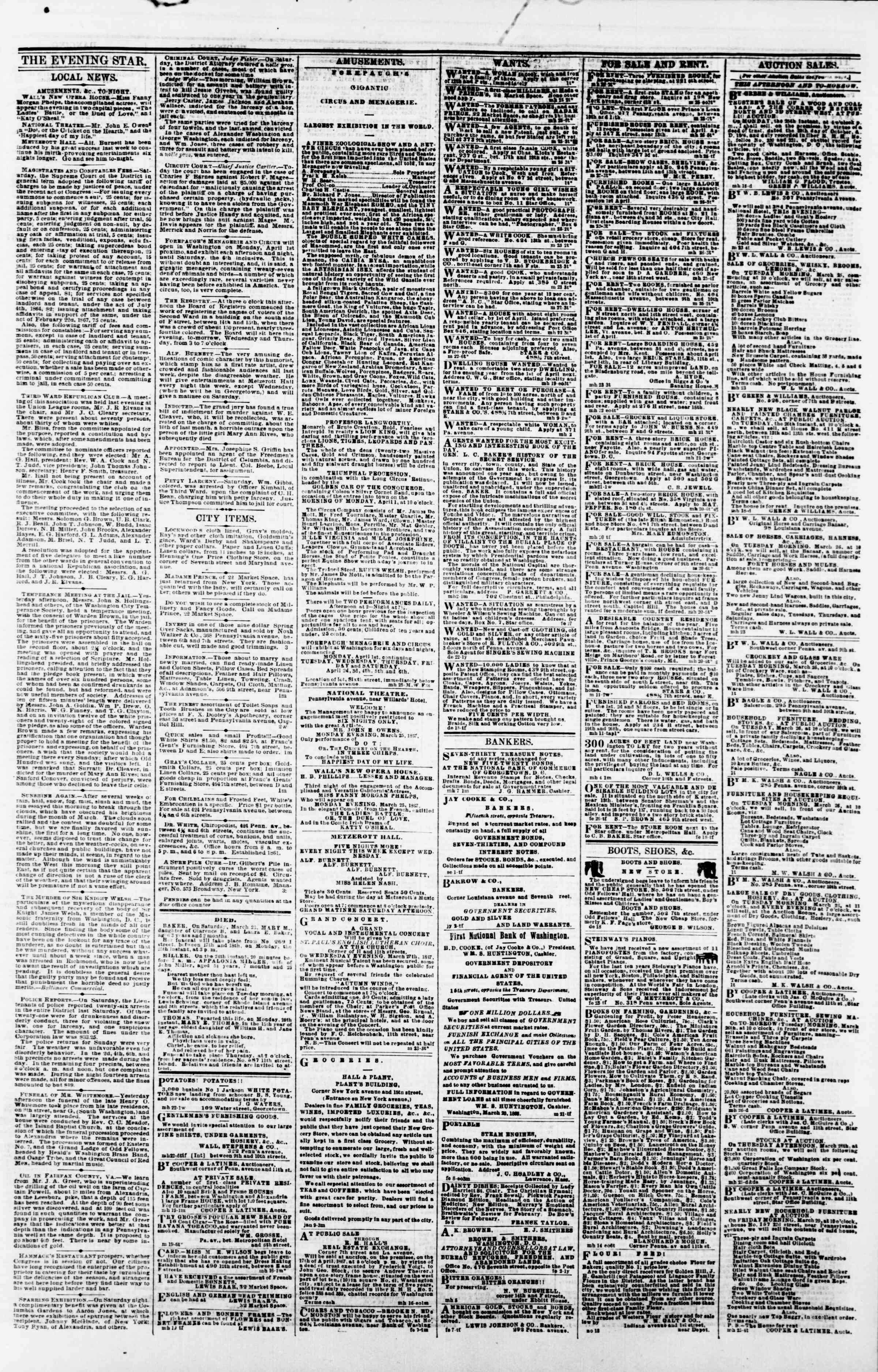 Newspaper of Evening Star dated March 25, 1867 Page 3