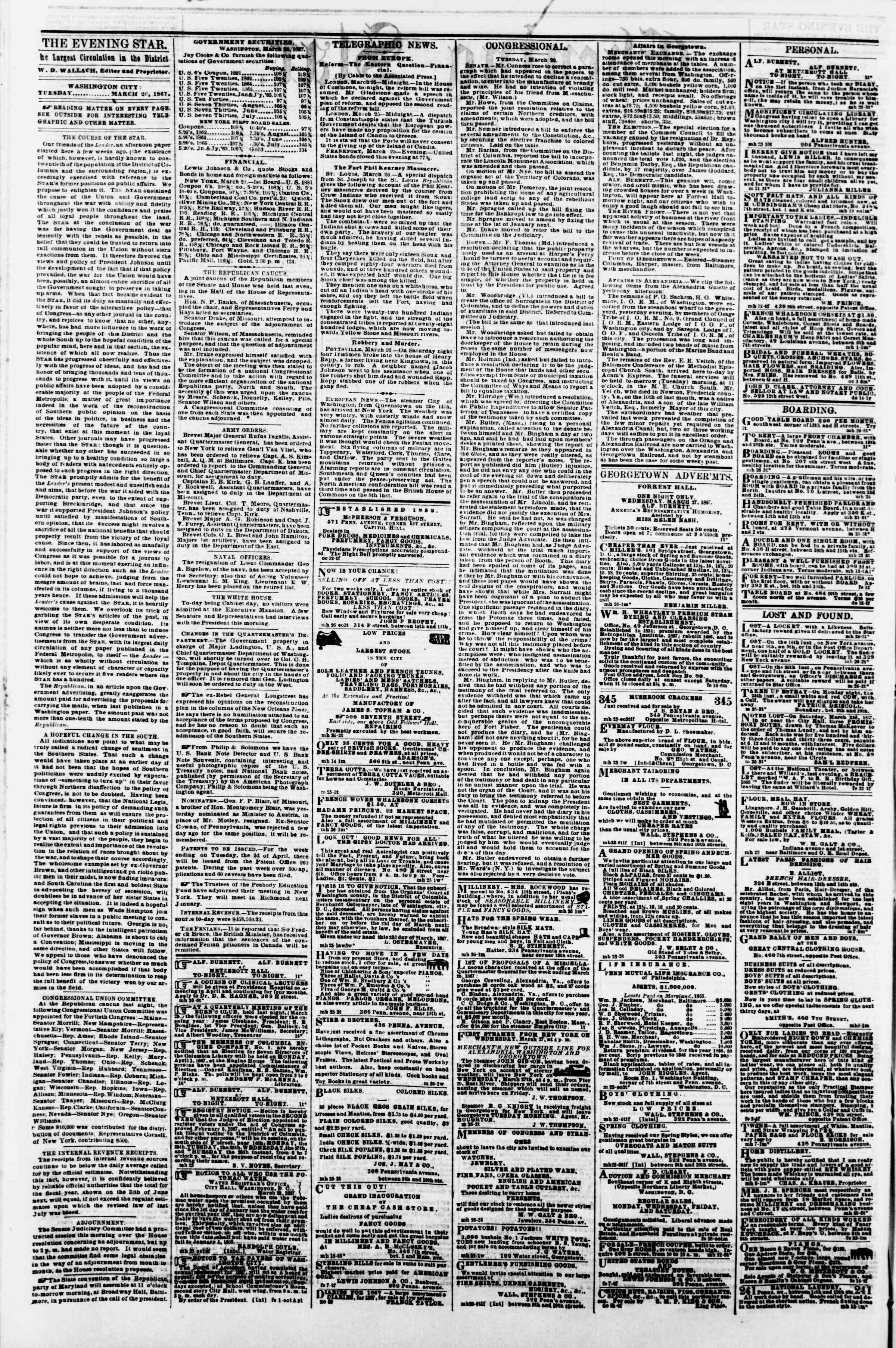 Newspaper of Evening Star dated March 26, 1867 Page 2