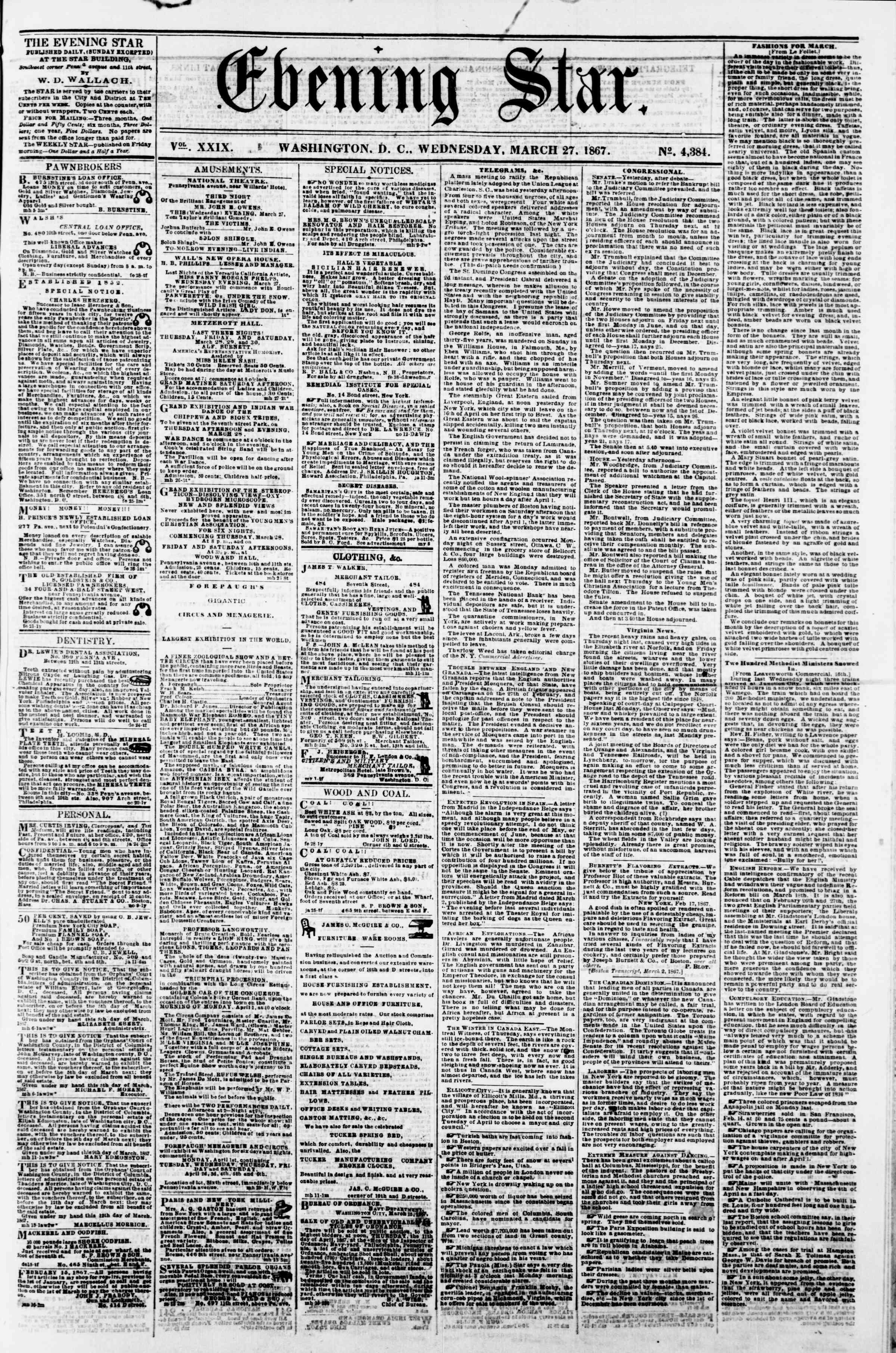 Newspaper of Evening Star dated March 27, 1867 Page 1