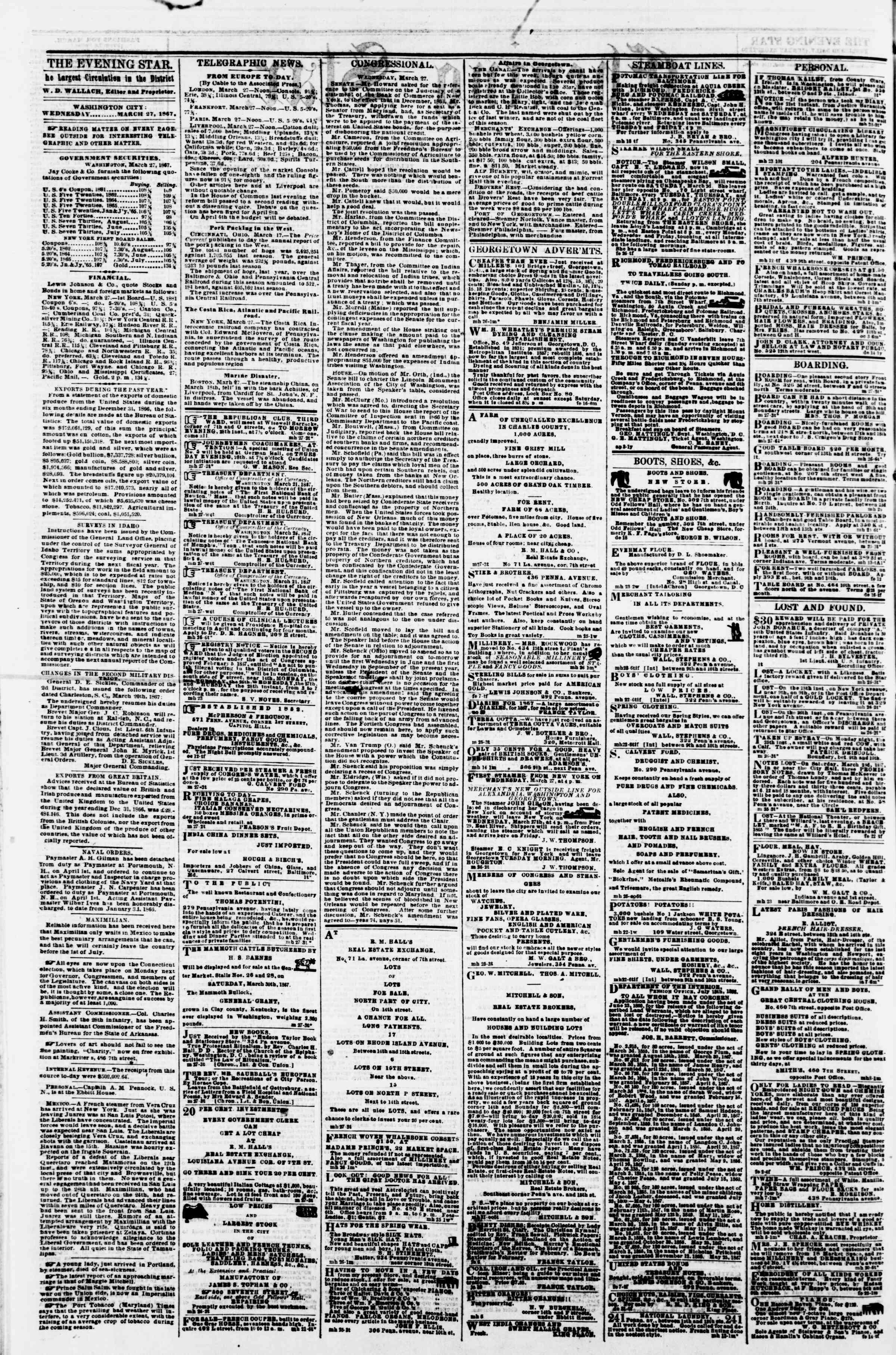 Newspaper of Evening Star dated March 27, 1867 Page 2