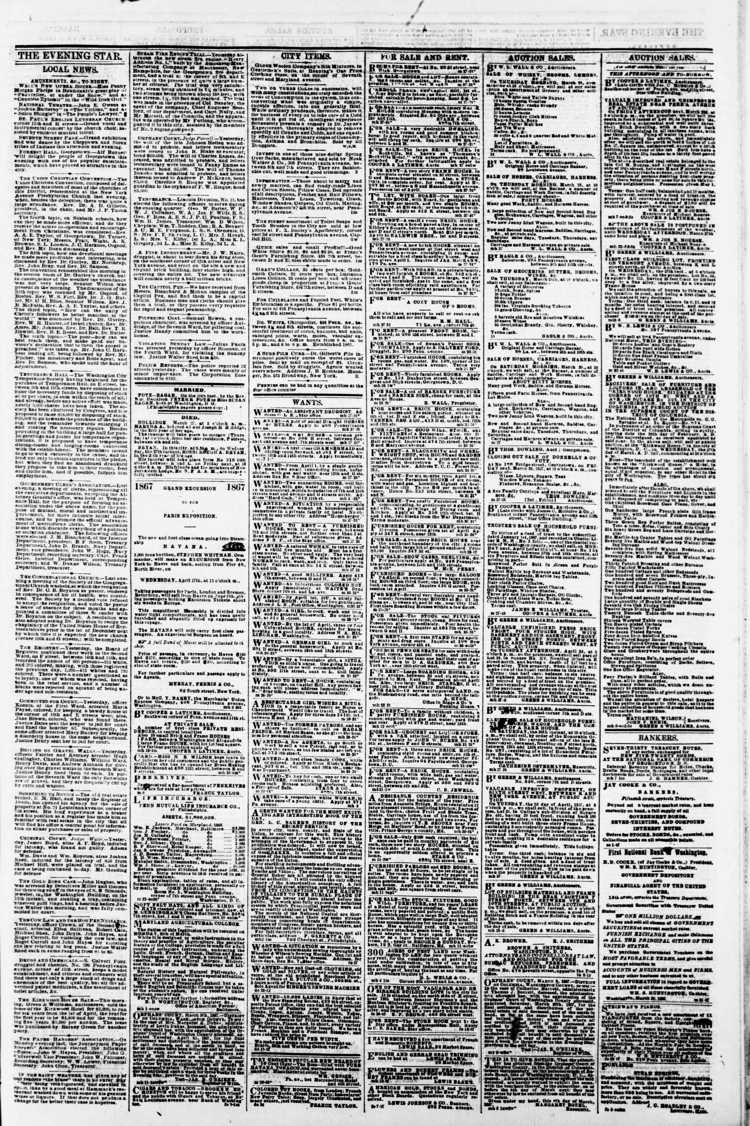 Newspaper of Evening Star dated March 27, 1867 Page 3