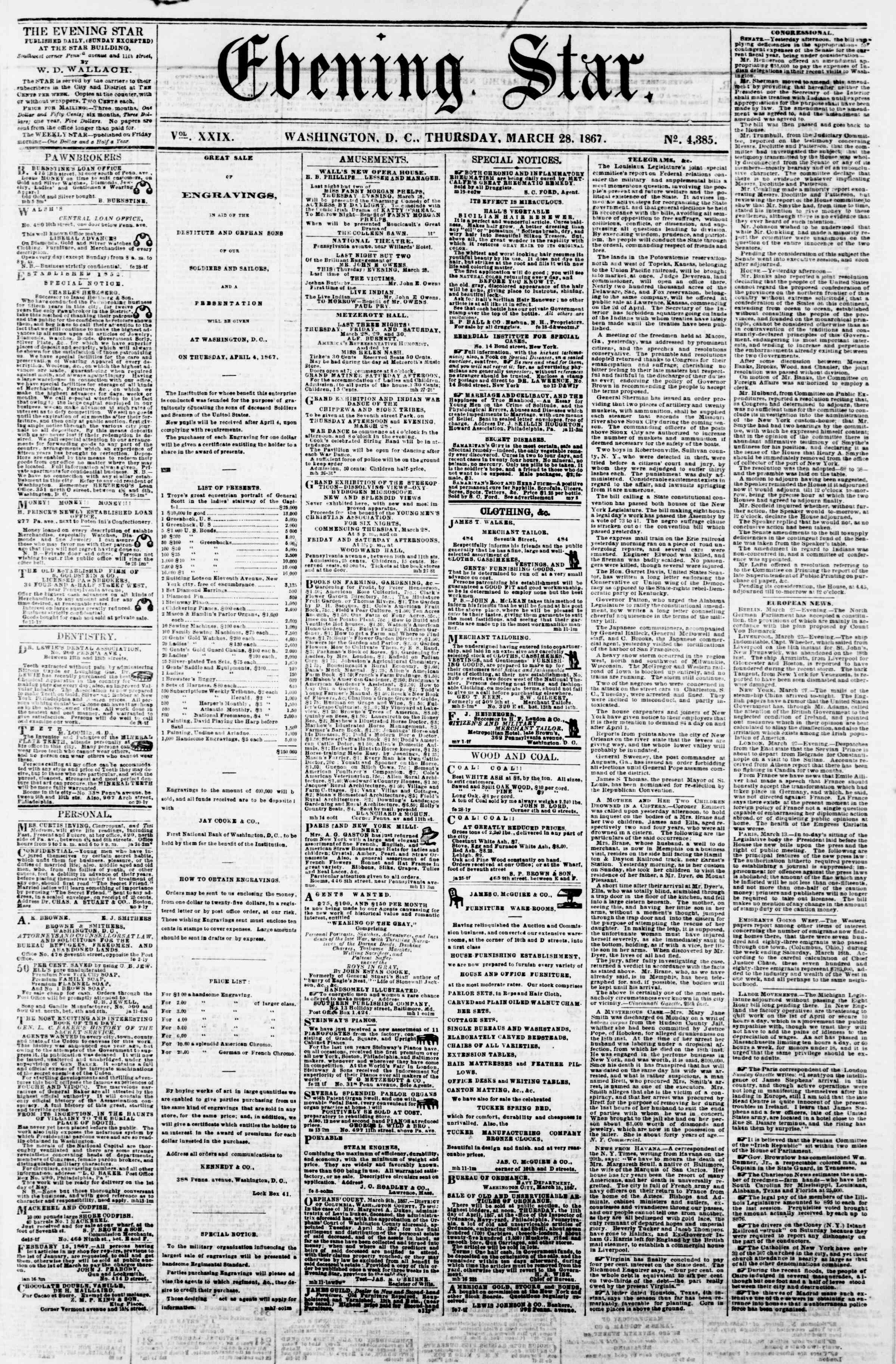 Newspaper of Evening Star dated March 28, 1867 Page 1