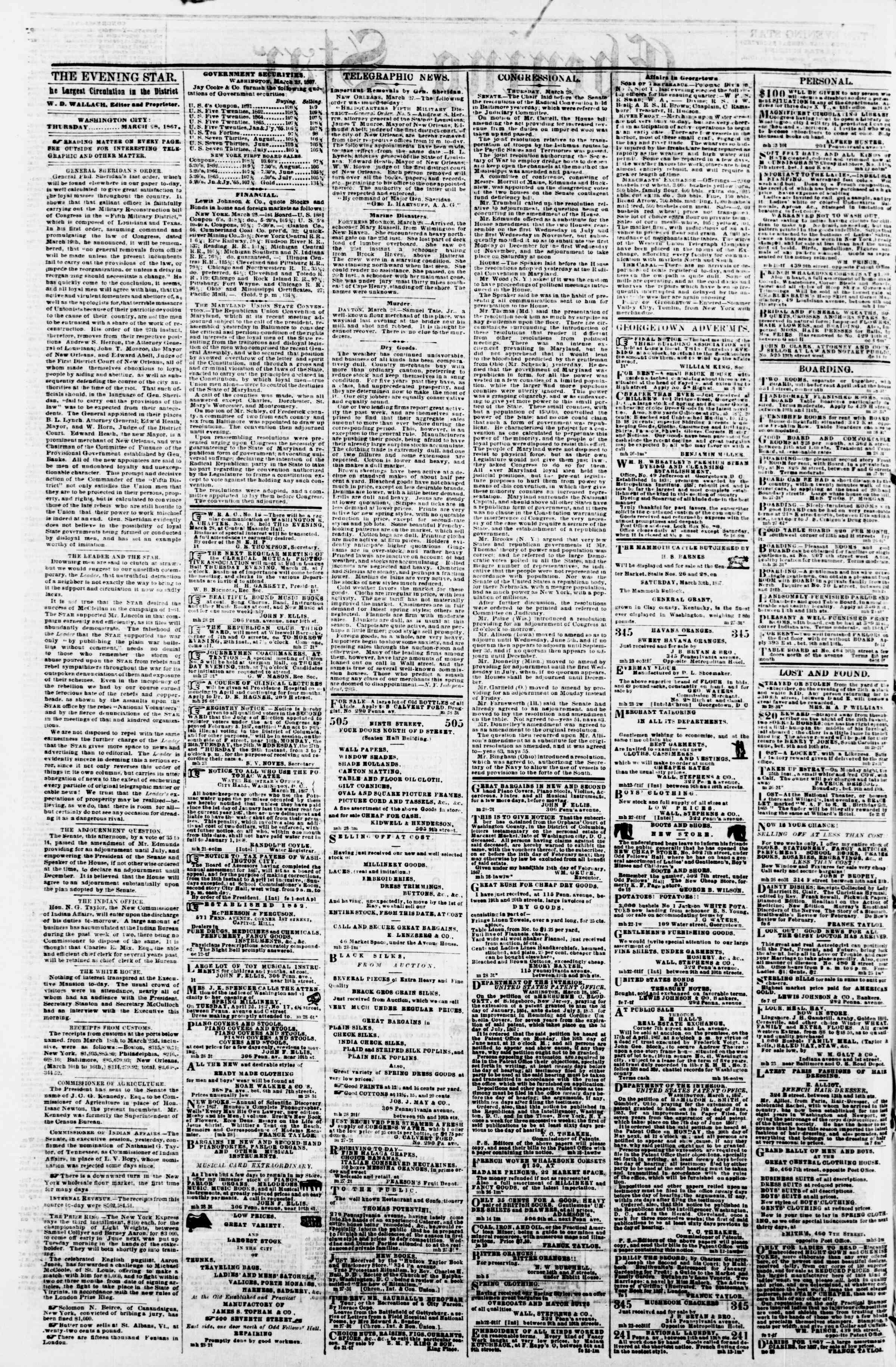 Newspaper of Evening Star dated March 28, 1867 Page 2