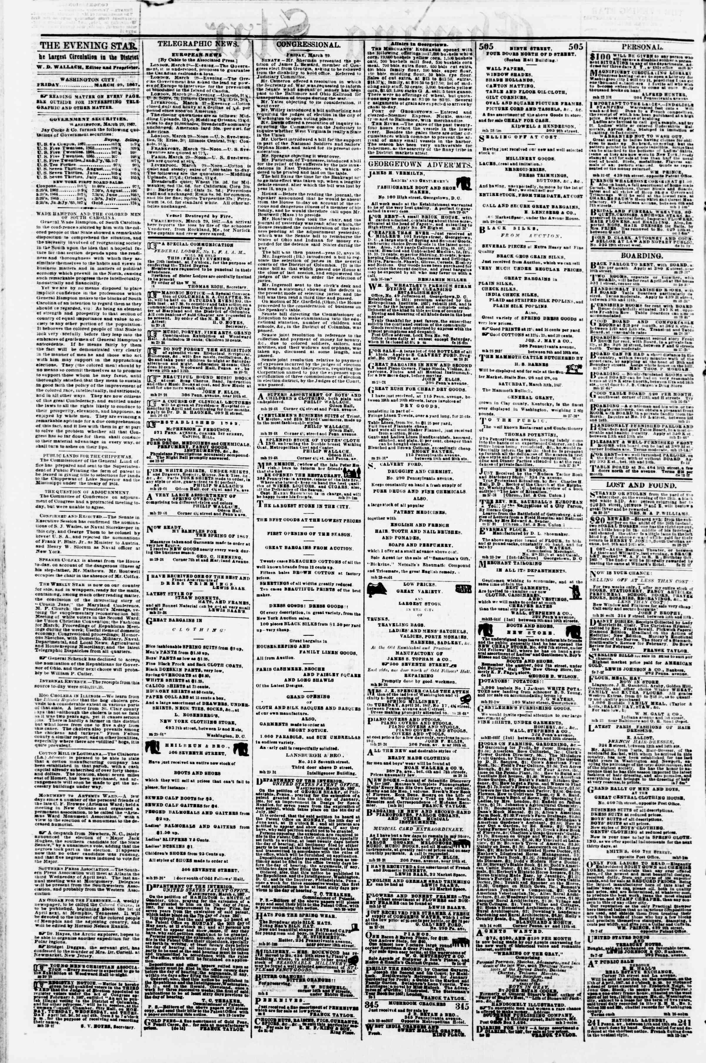 Newspaper of Evening Star dated March 29, 1867 Page 2