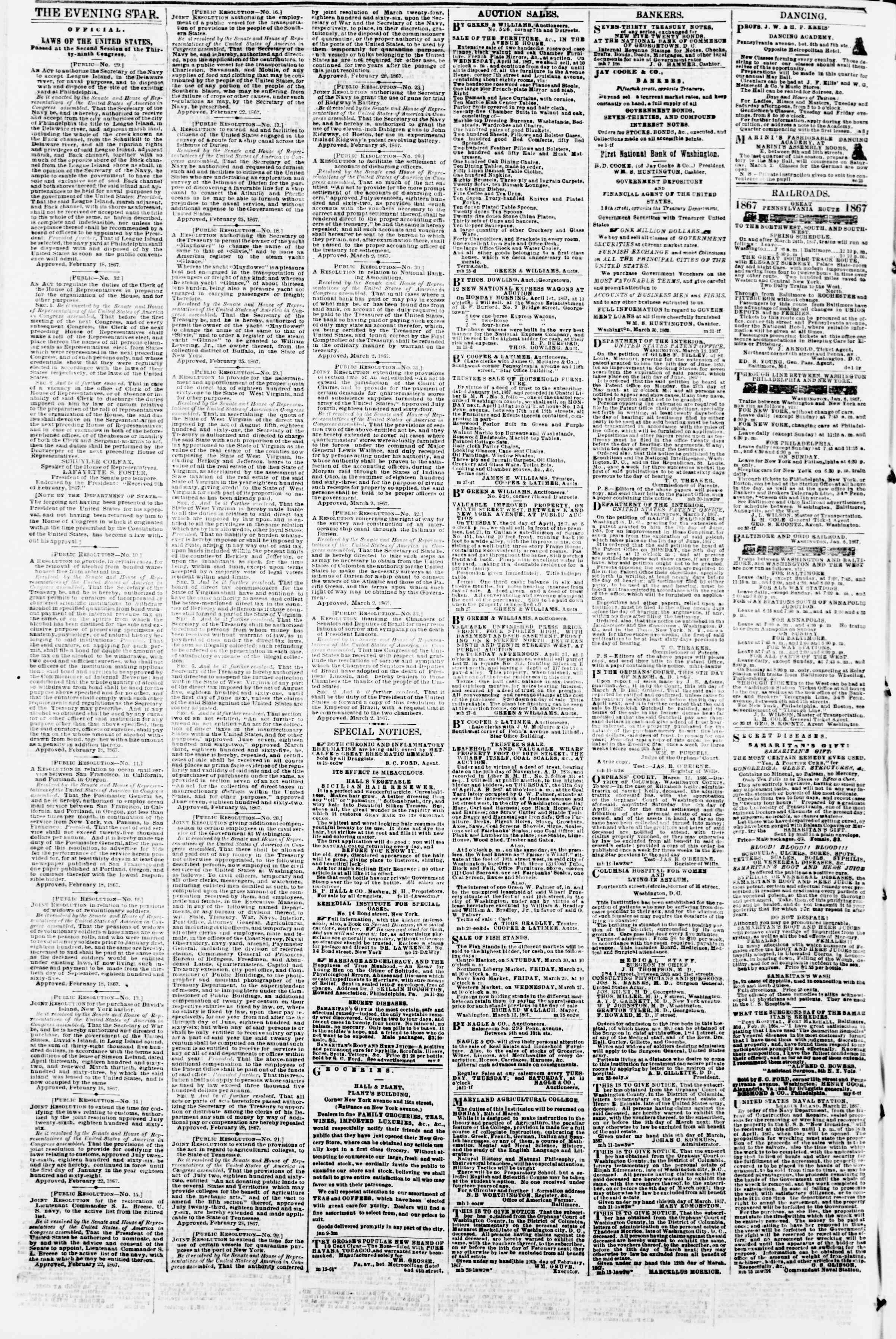 Newspaper of Evening Star dated March 29, 1867 Page 4