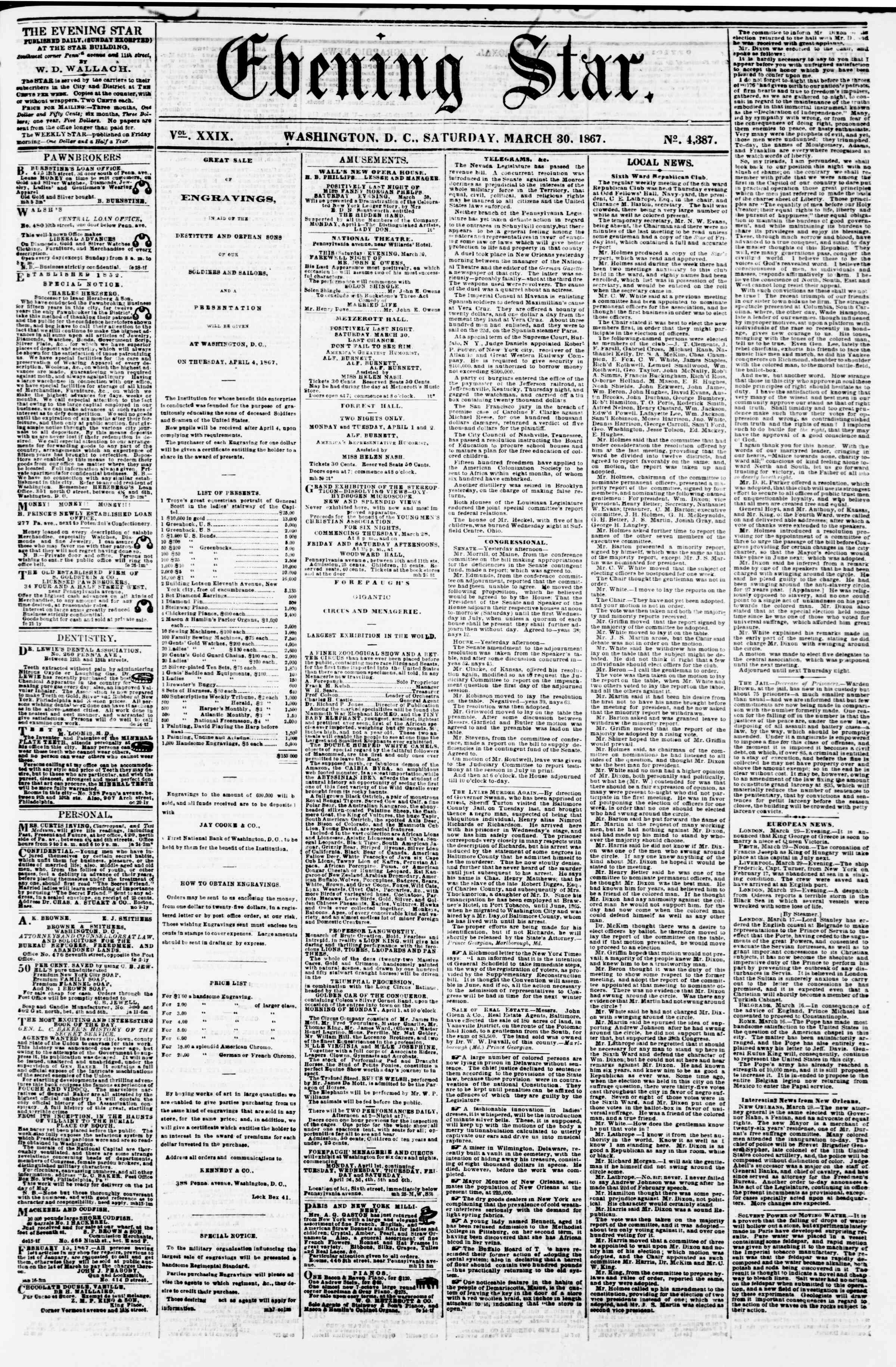 Newspaper of Evening Star dated March 30, 1867 Page 1