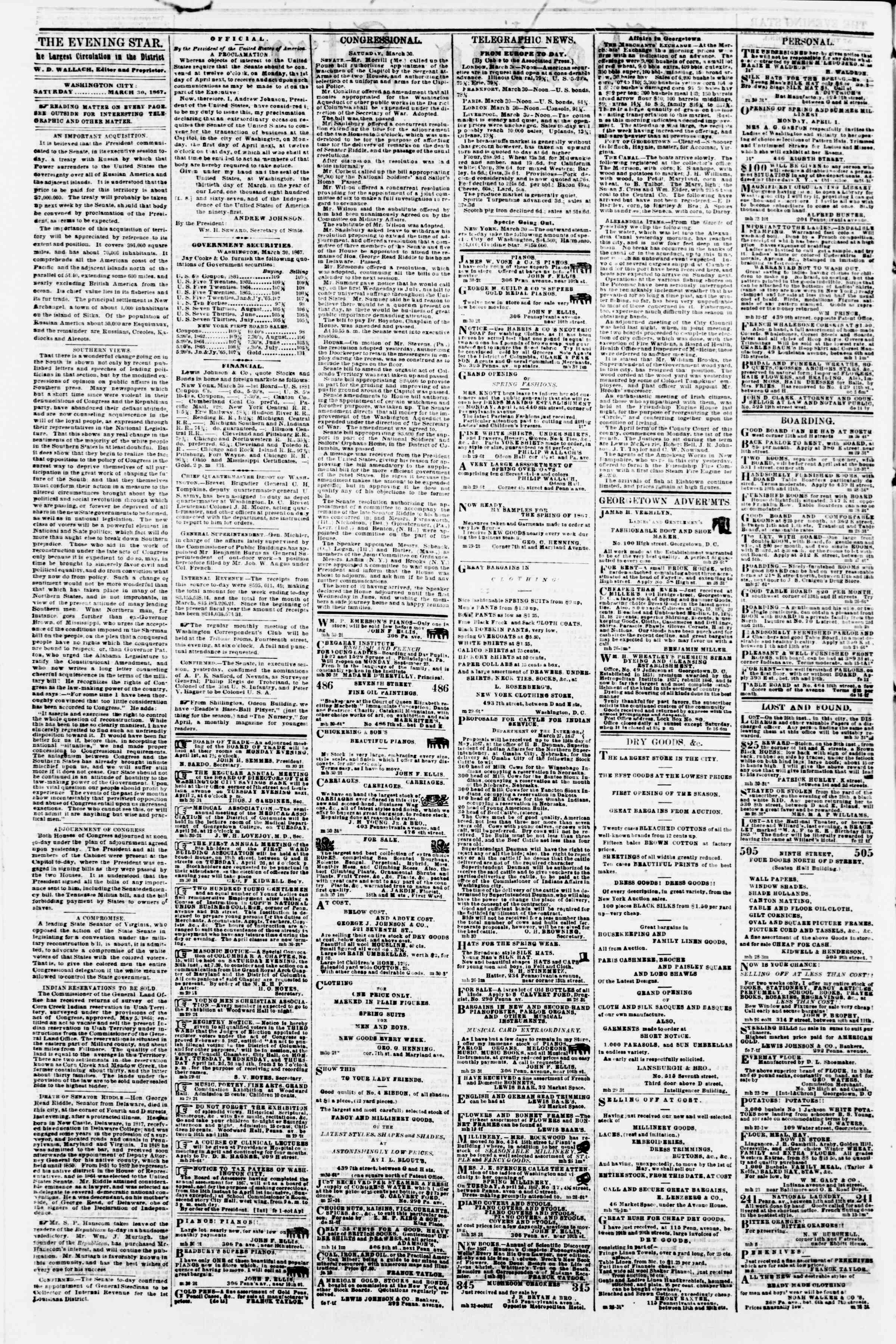 Newspaper of Evening Star dated March 30, 1867 Page 2