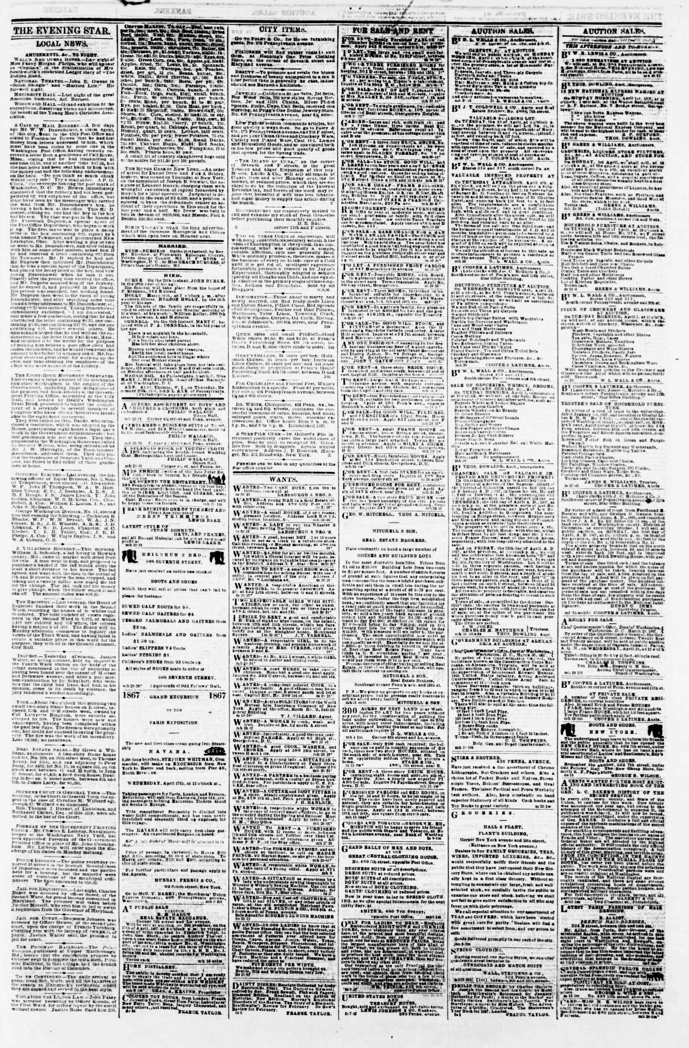 Newspaper of Evening Star dated 30 Mart 1867 Page 3