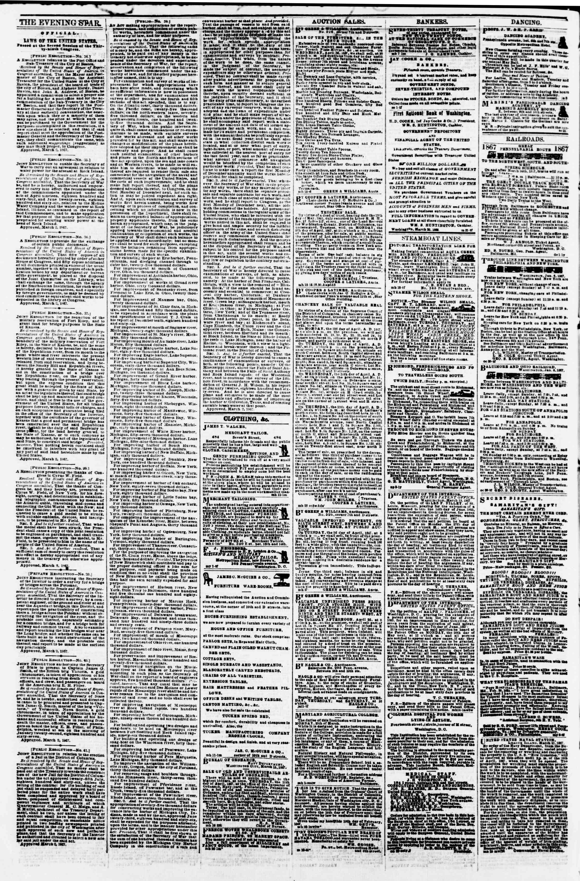 Newspaper of Evening Star dated March 30, 1867 Page 4