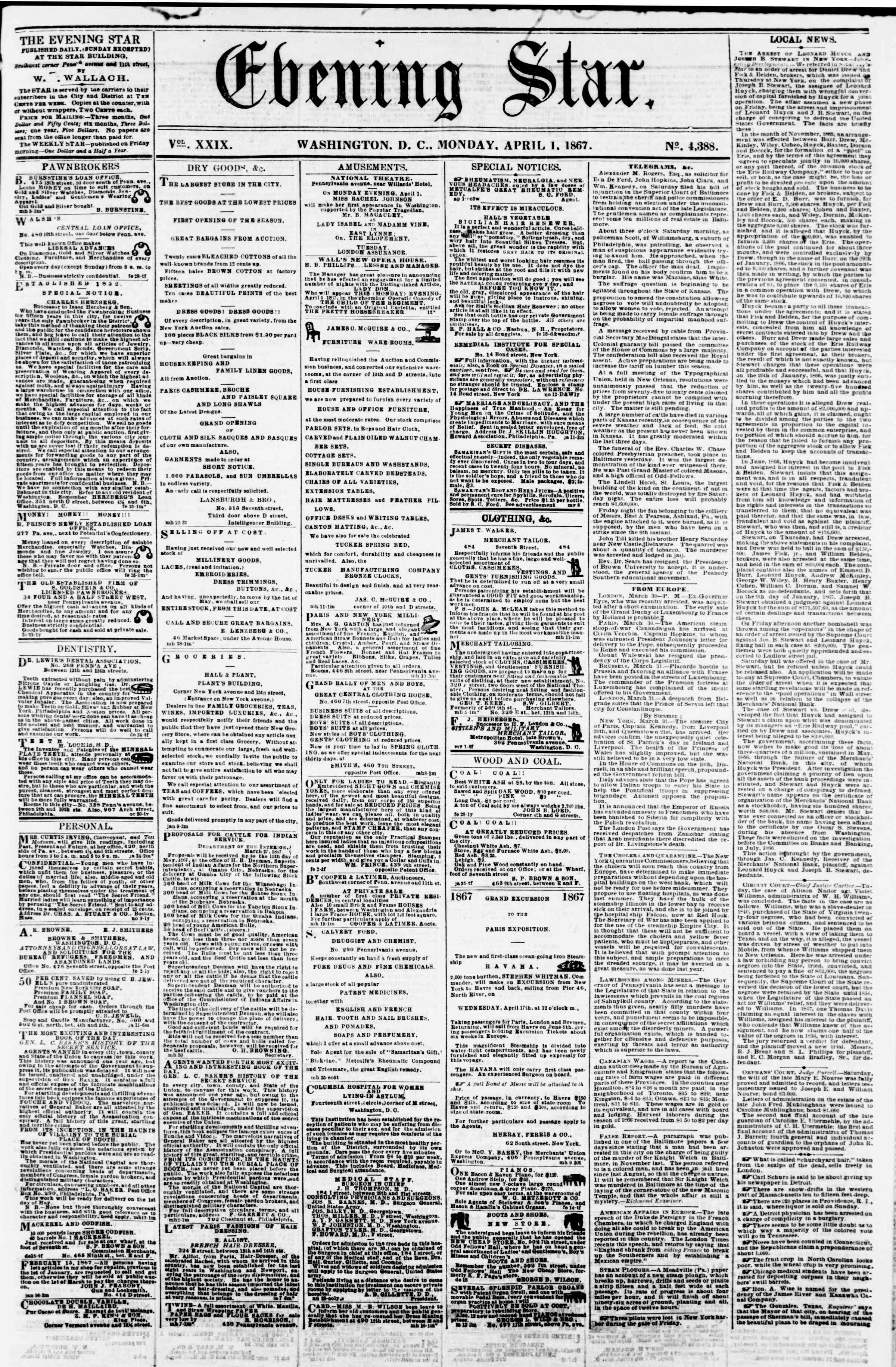 Newspaper of Evening Star dated April 1, 1867 Page 1