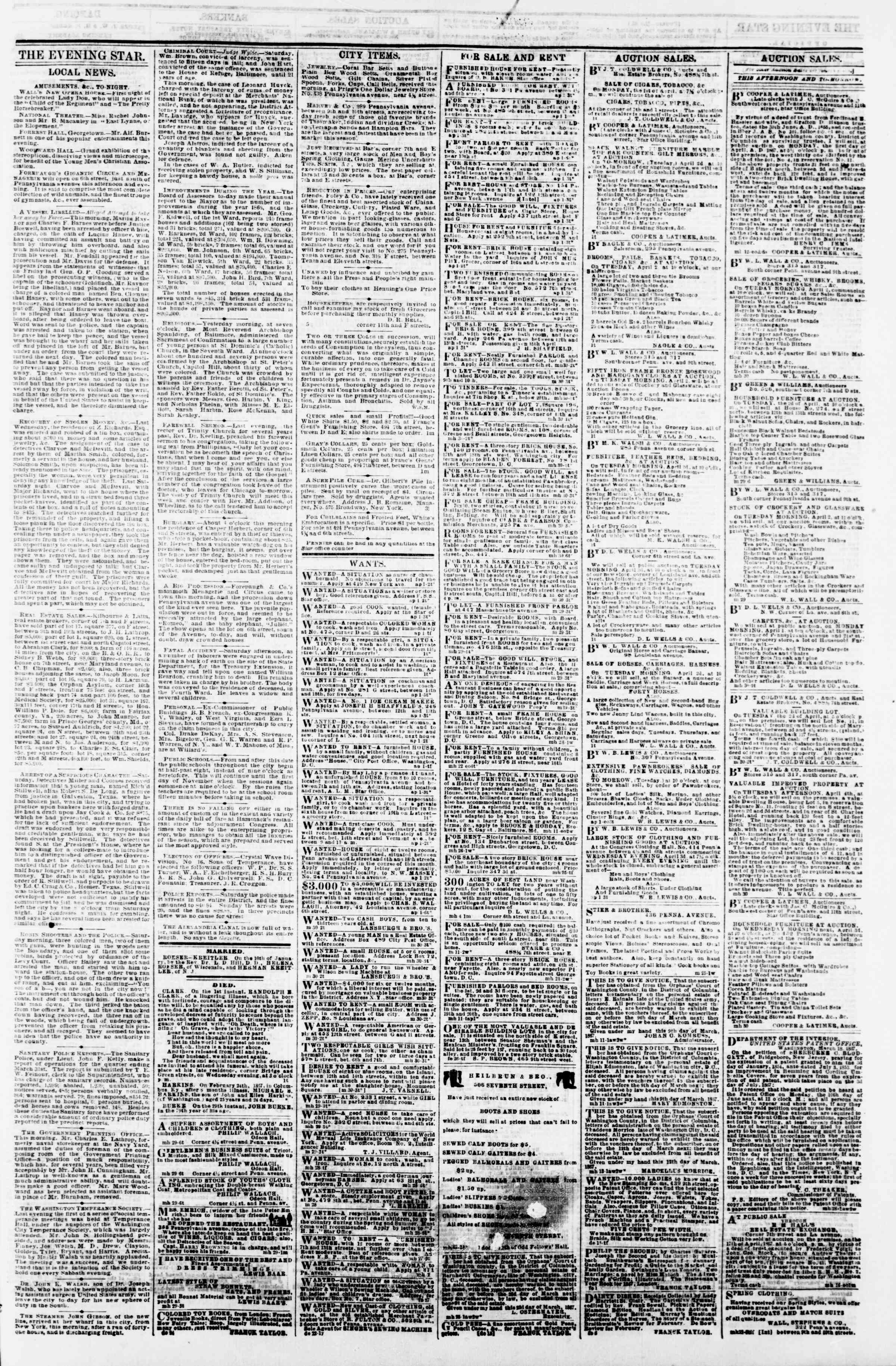 Newspaper of Evening Star dated April 1, 1867 Page 3
