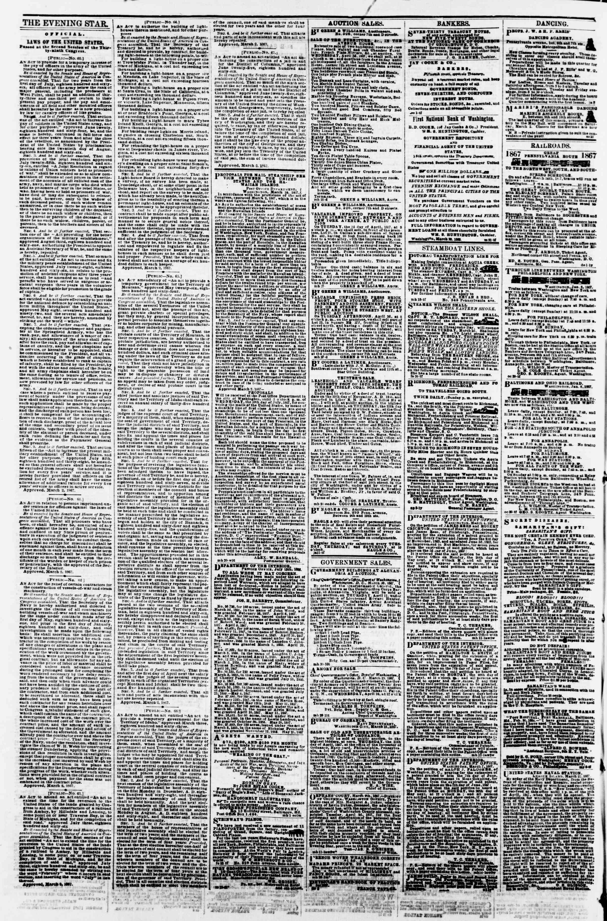 Newspaper of Evening Star dated April 1, 1867 Page 4