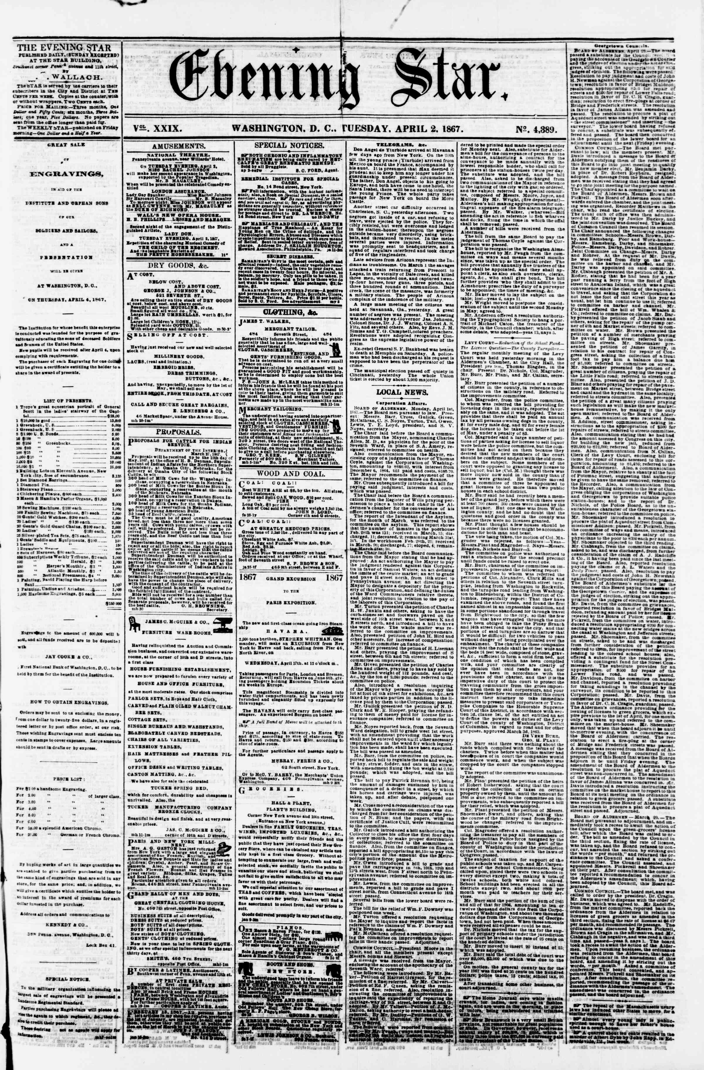 Newspaper of Evening Star dated April 2, 1867 Page 1