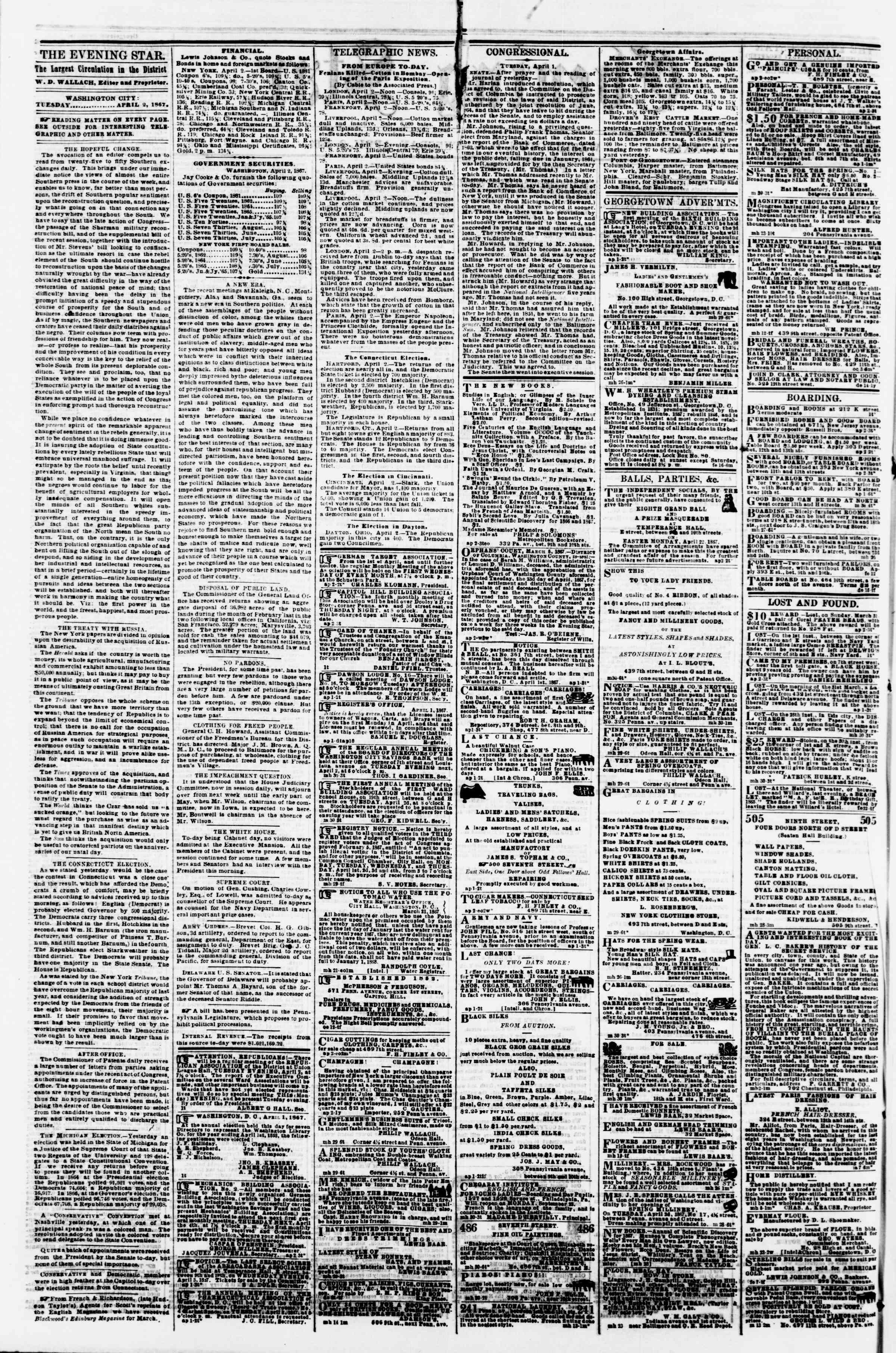 Newspaper of Evening Star dated April 2, 1867 Page 2