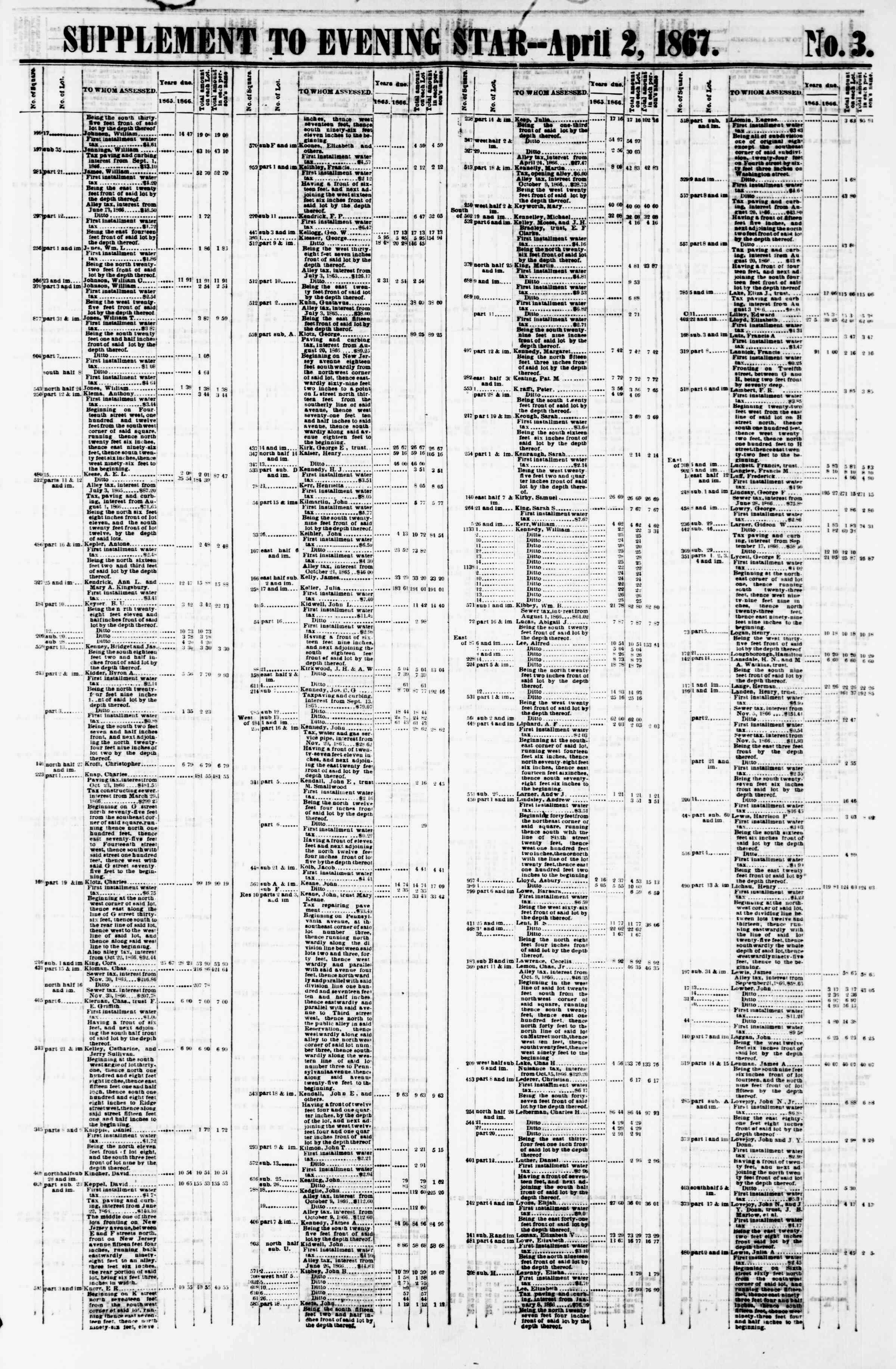 Newspaper of Evening Star dated April 2, 1867 Page 13