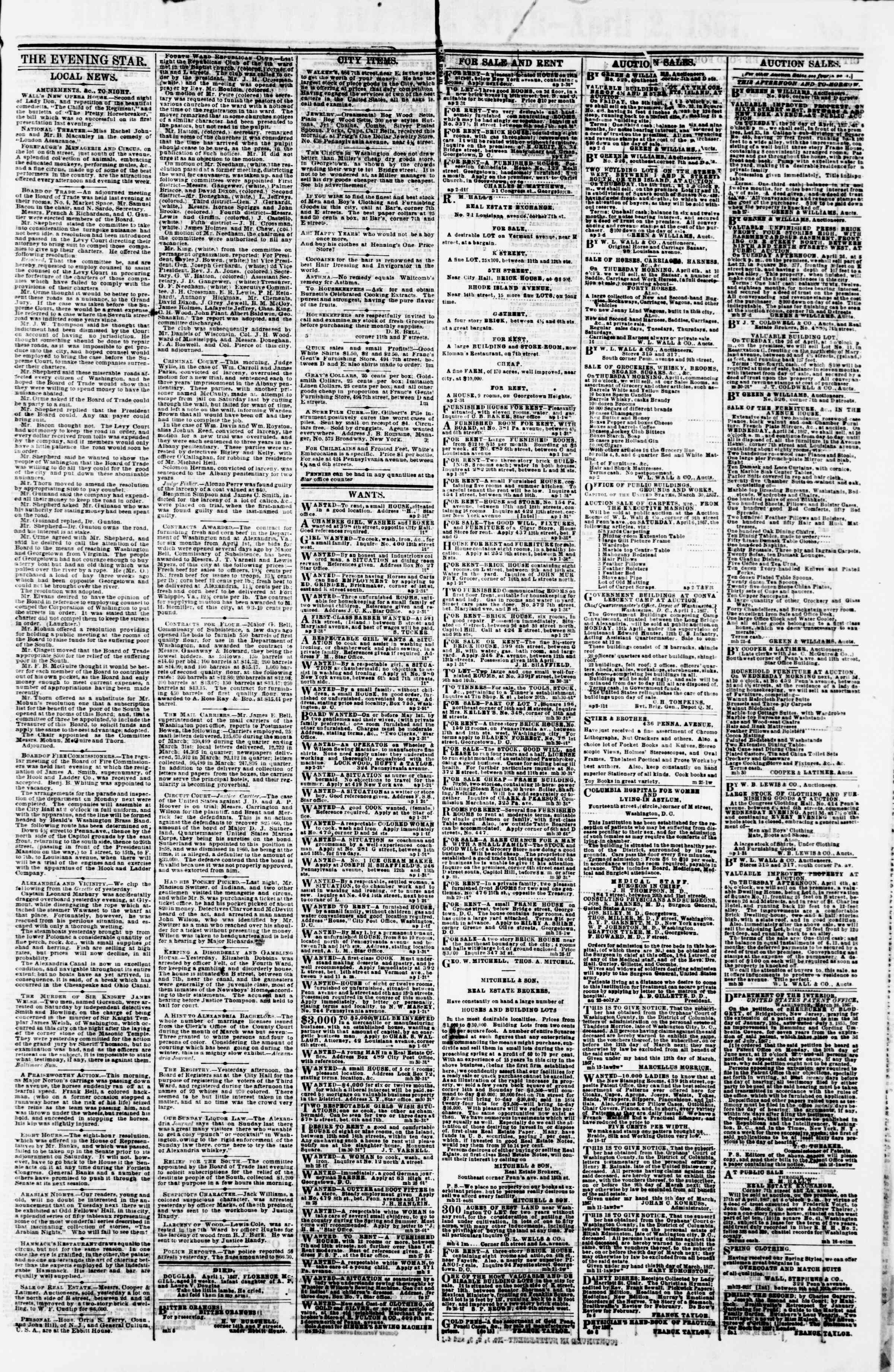 Newspaper of Evening Star dated April 2, 1867 Page 3