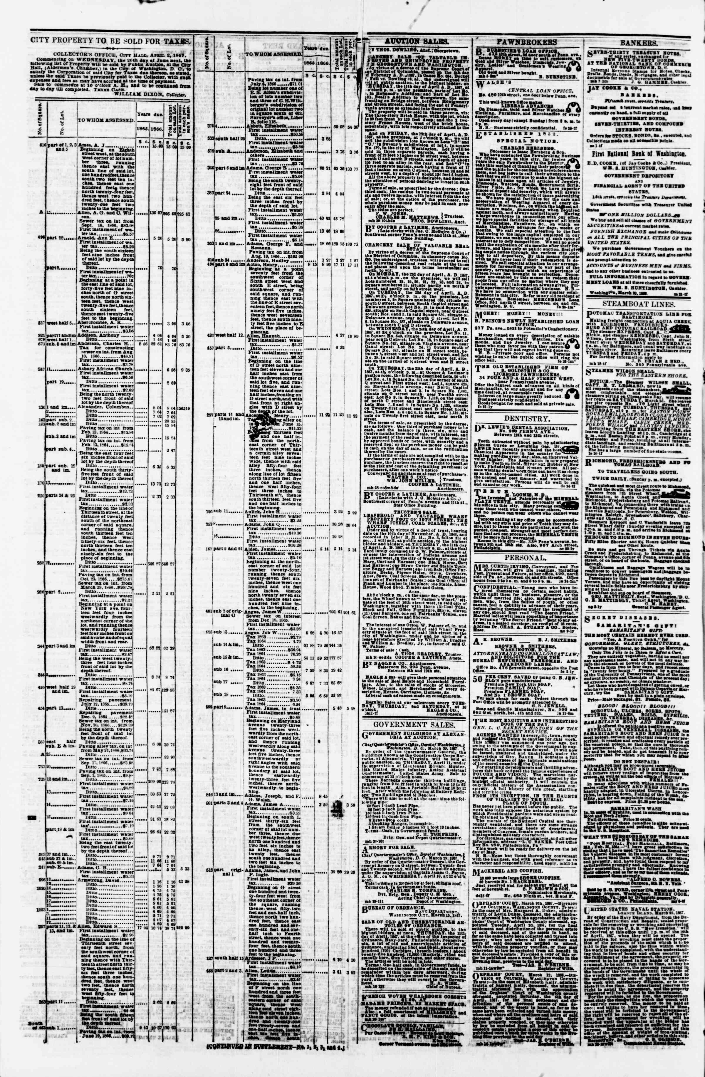 Newspaper of Evening Star dated April 2, 1867 Page 4