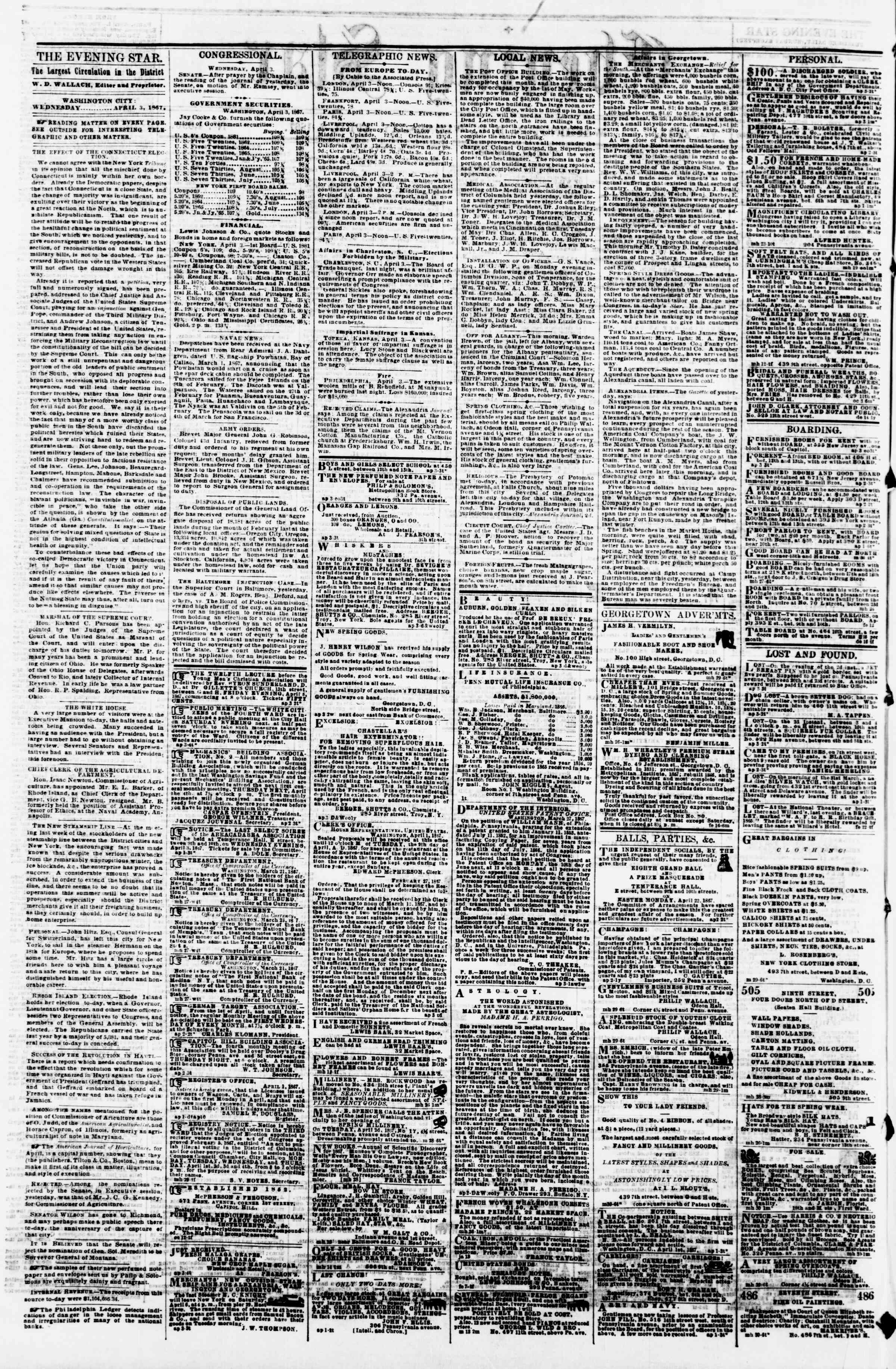 Newspaper of Evening Star dated April 3, 1867 Page 2