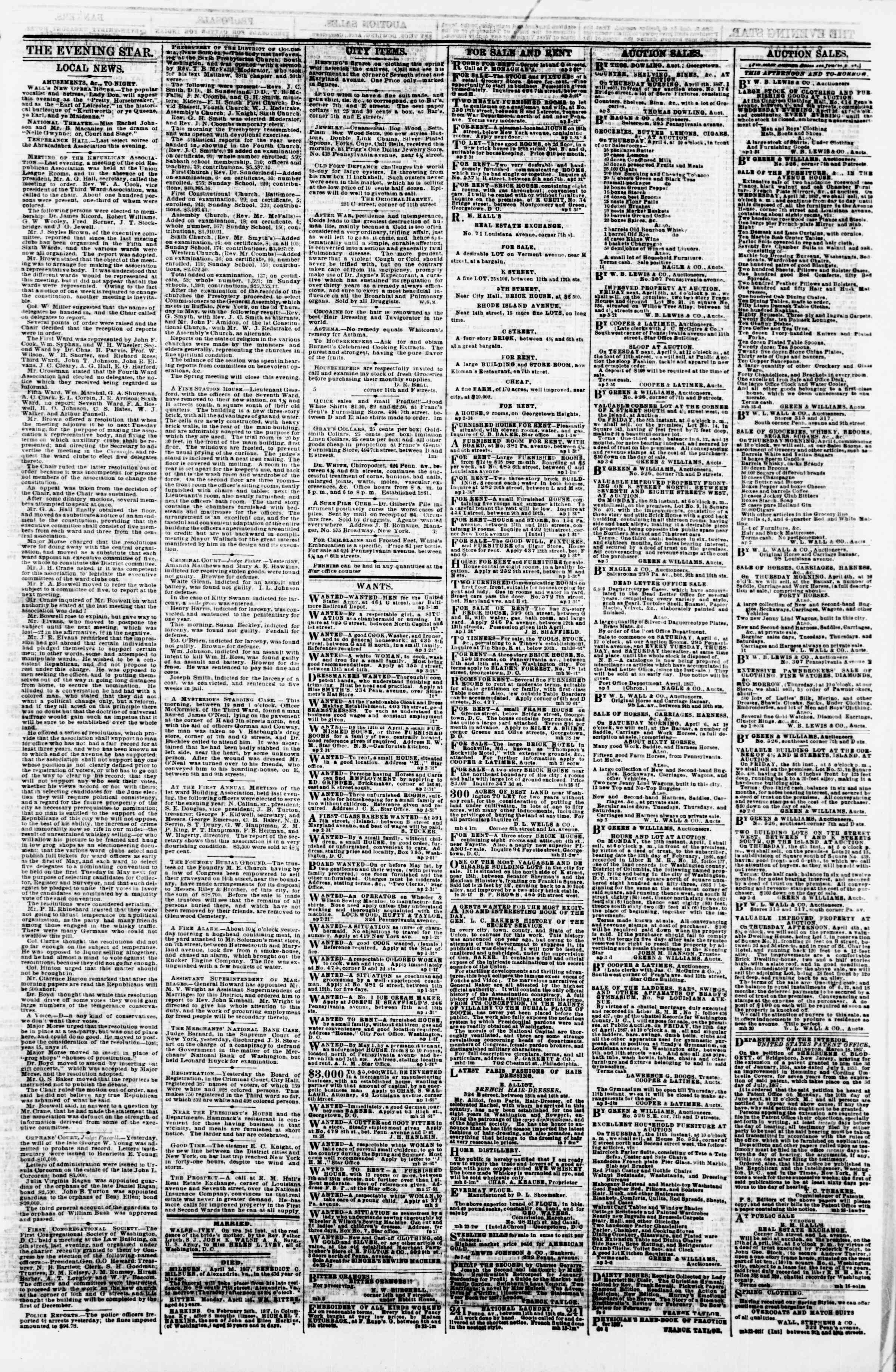 Newspaper of Evening Star dated April 3, 1867 Page 3