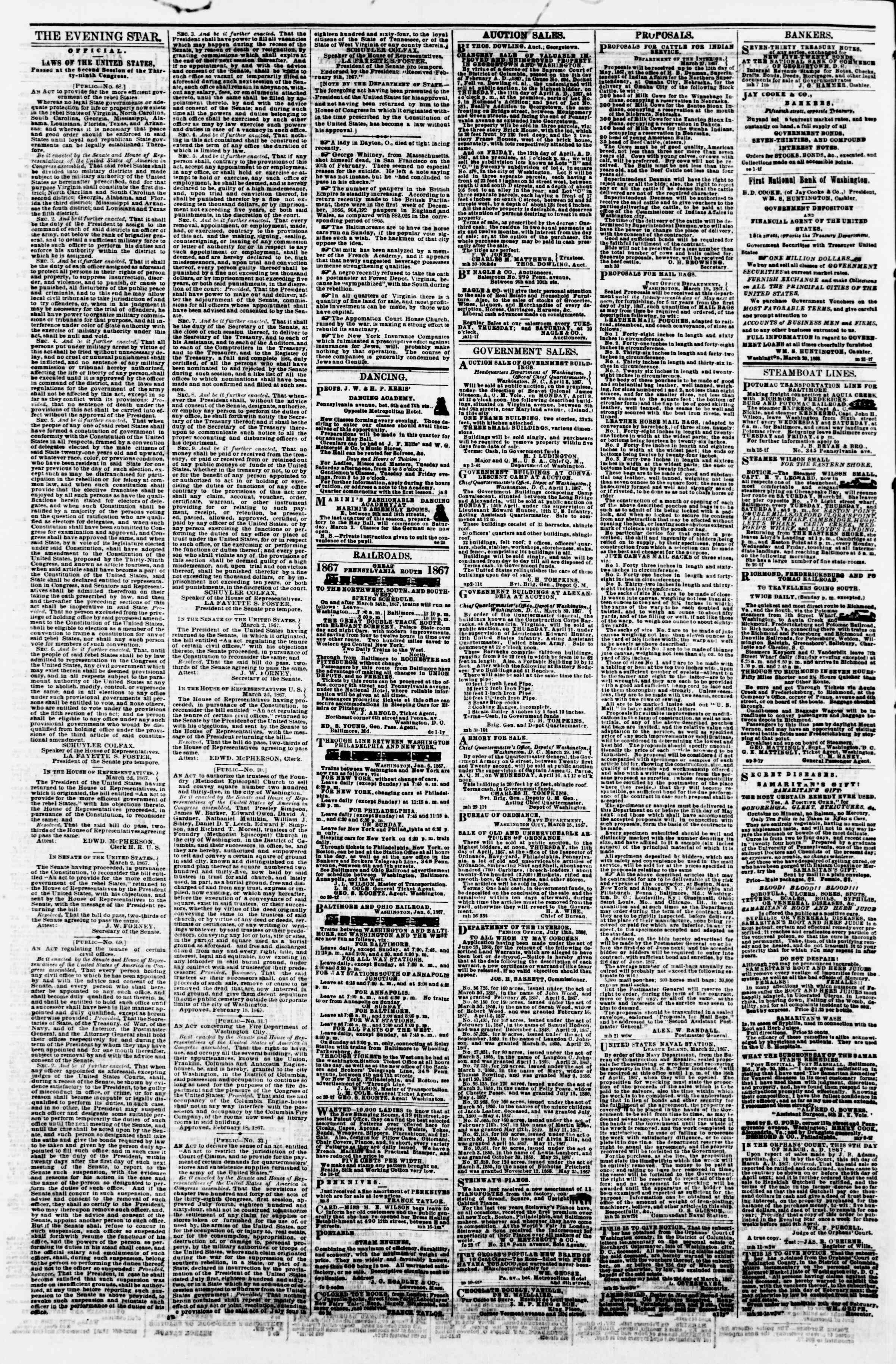 Newspaper of Evening Star dated April 3, 1867 Page 4
