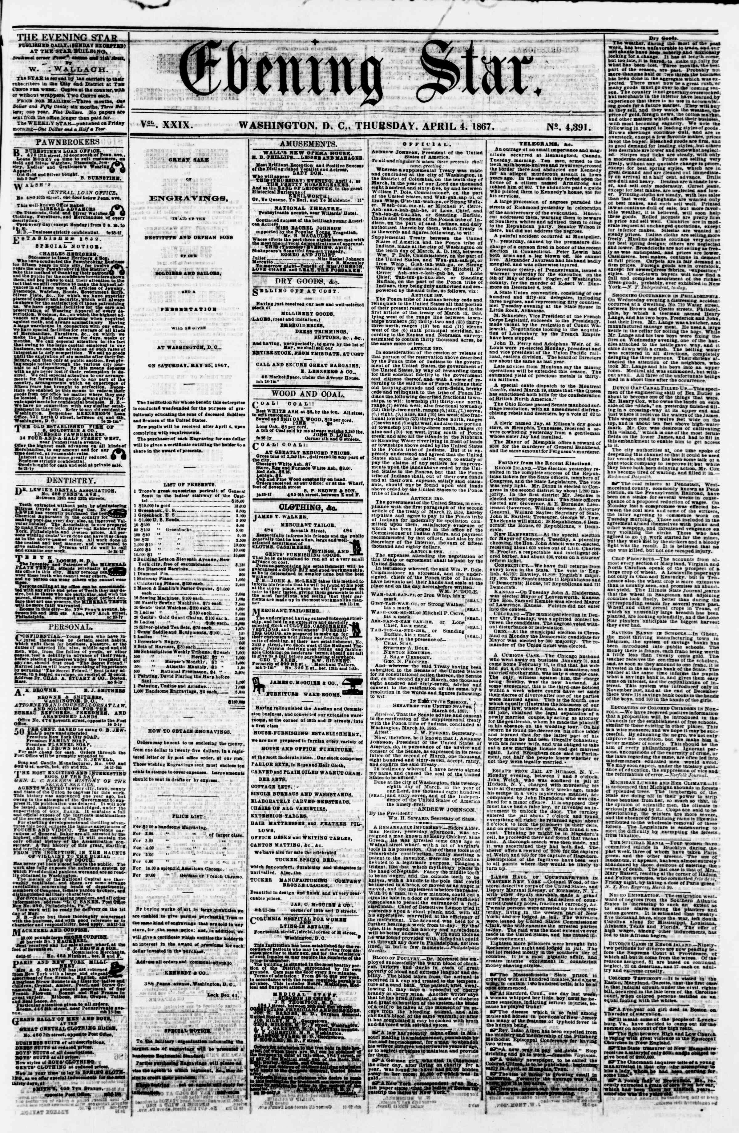 Newspaper of Evening Star dated April 4, 1867 Page 1