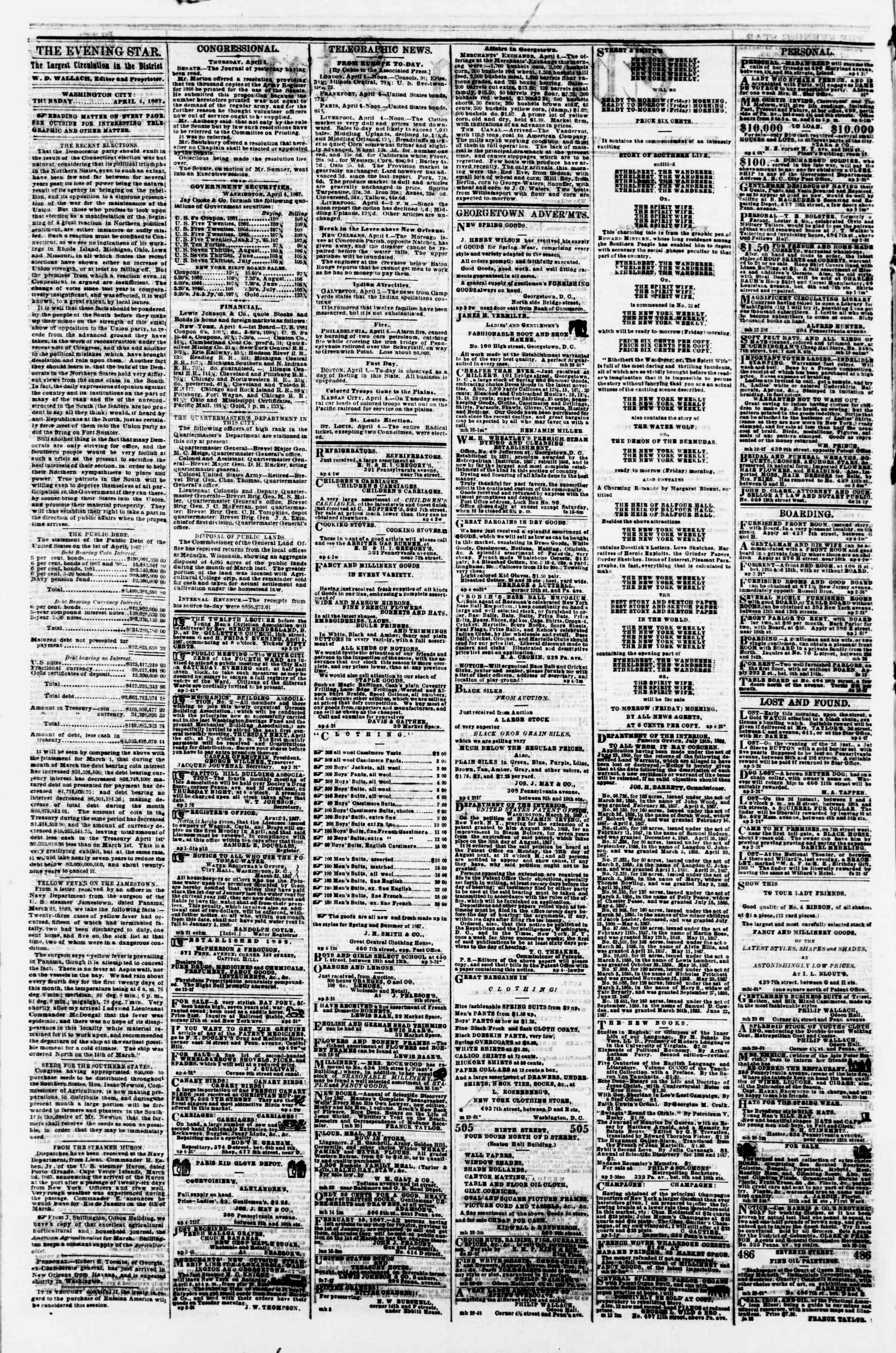Newspaper of Evening Star dated April 4, 1867 Page 2