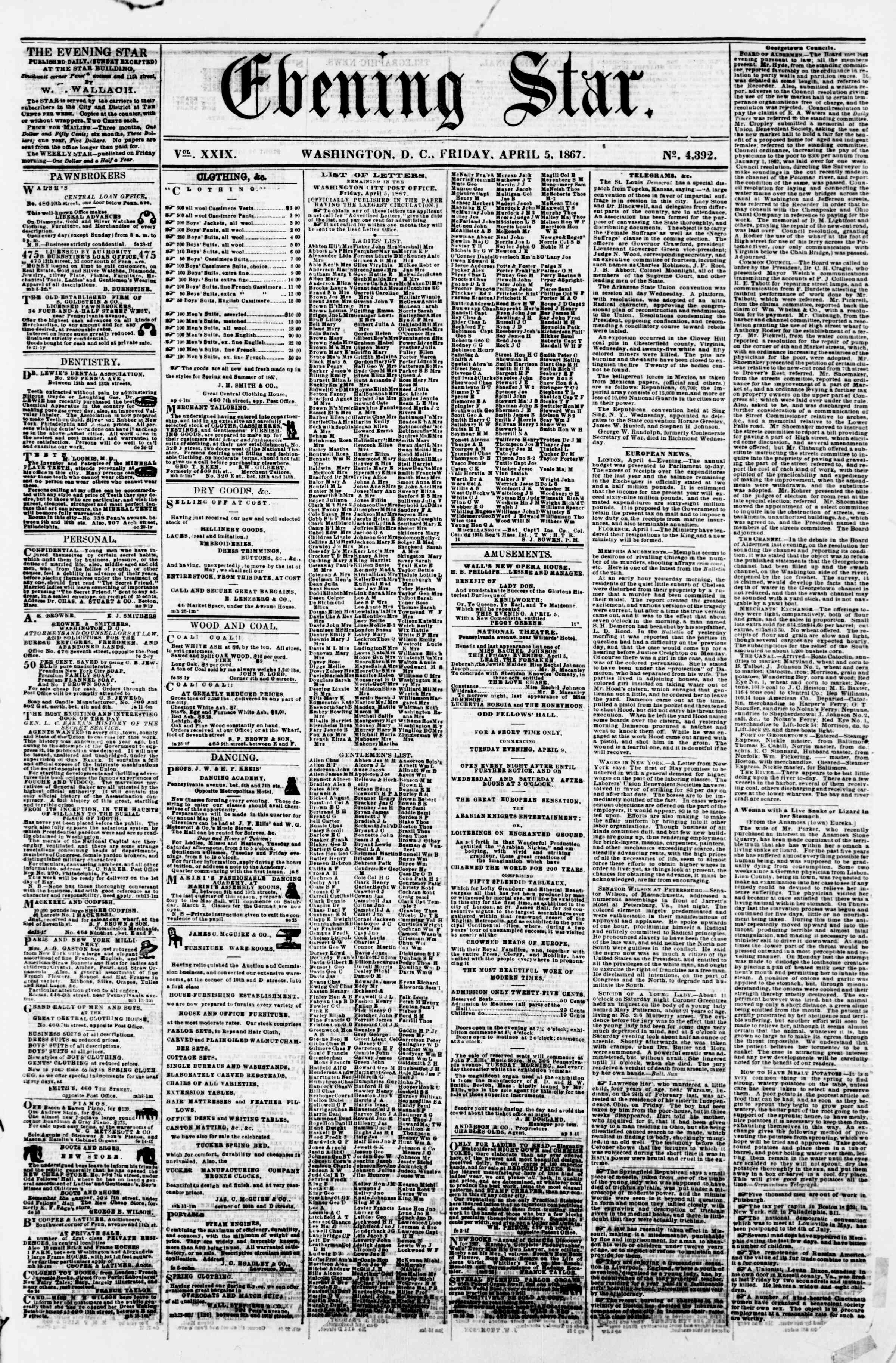 Newspaper of Evening Star dated April 5, 1867 Page 1