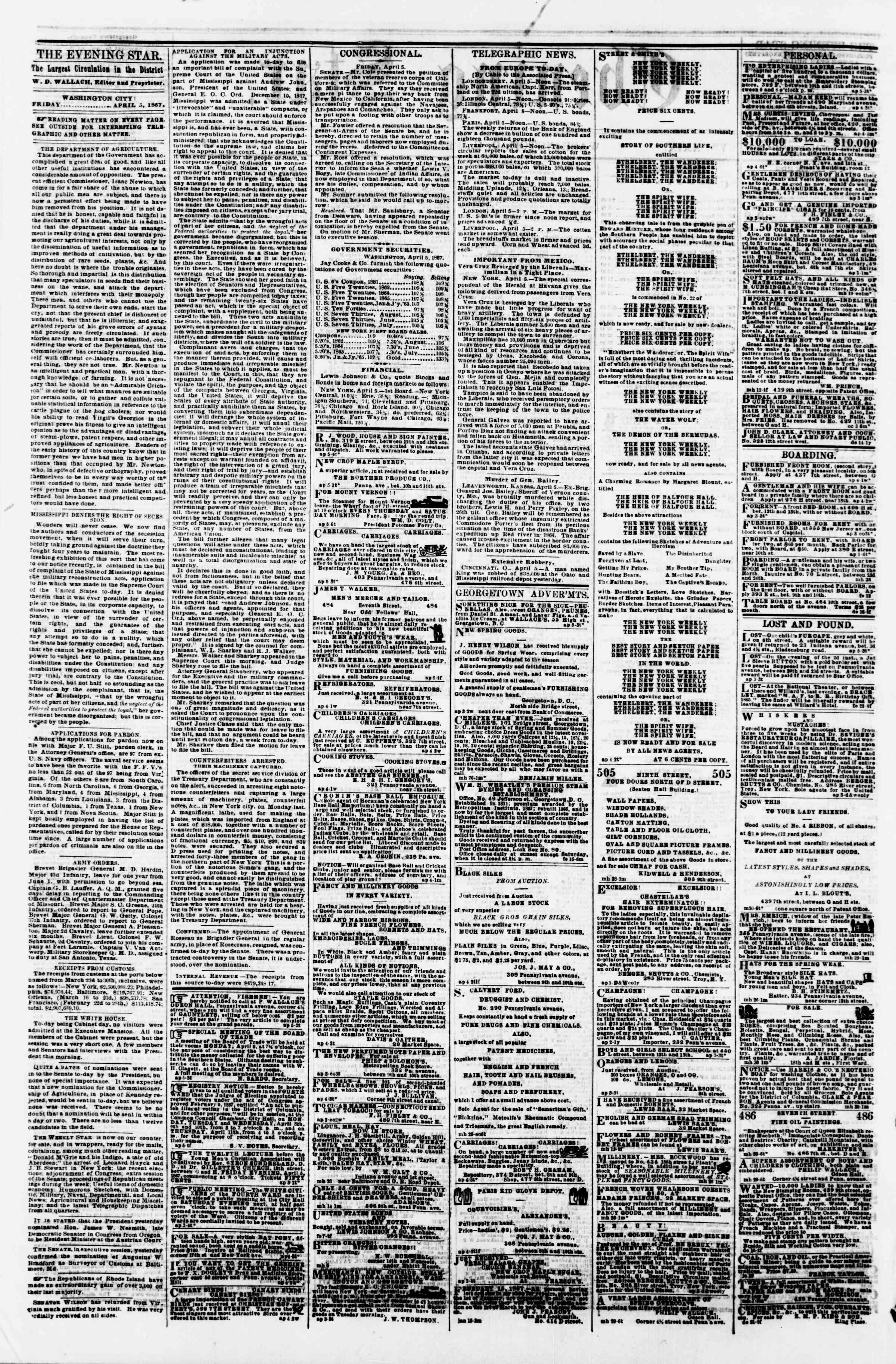 Newspaper of Evening Star dated April 5, 1867 Page 2