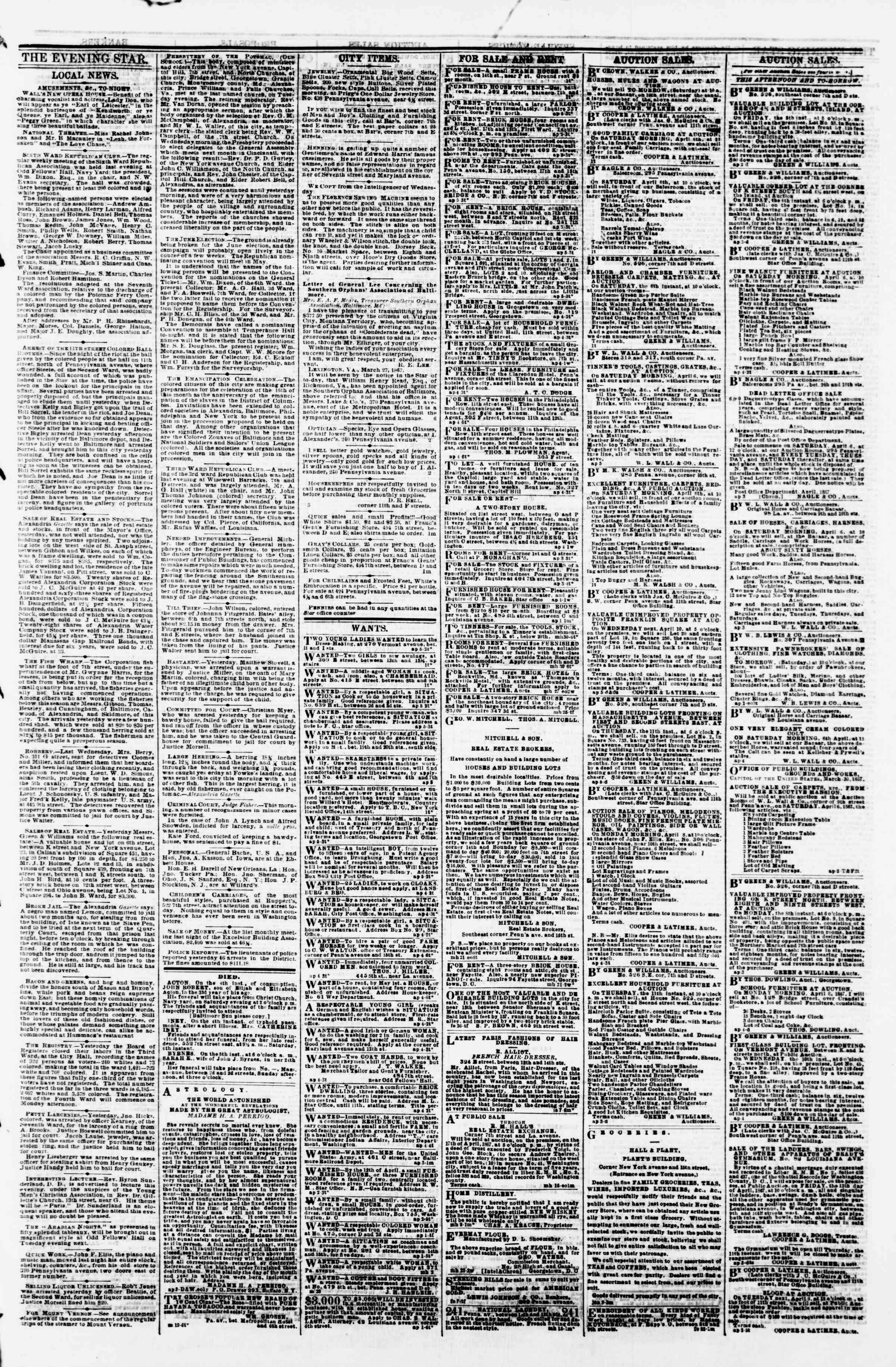 Newspaper of Evening Star dated April 5, 1867 Page 3