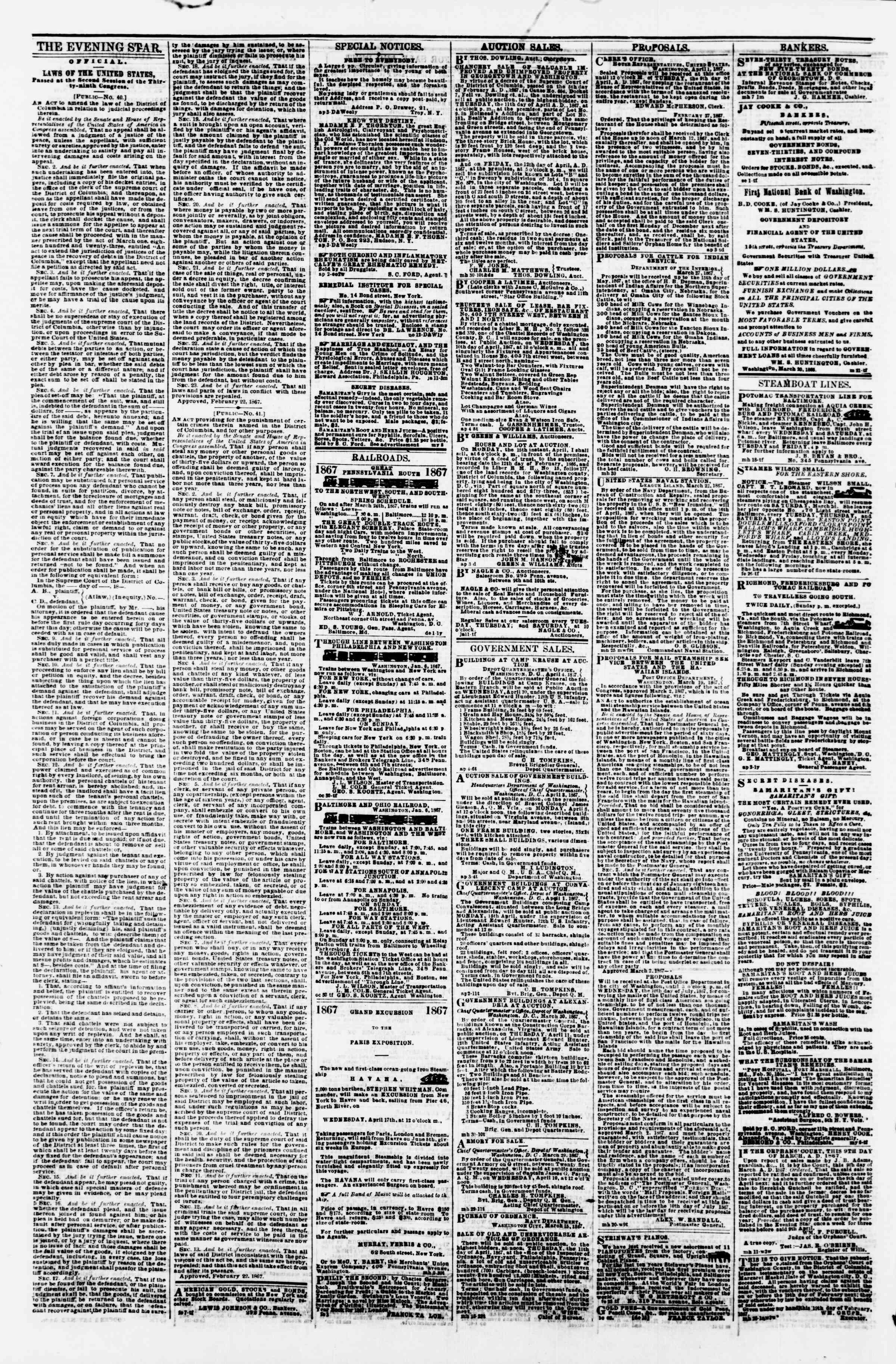 Newspaper of Evening Star dated April 5, 1867 Page 4
