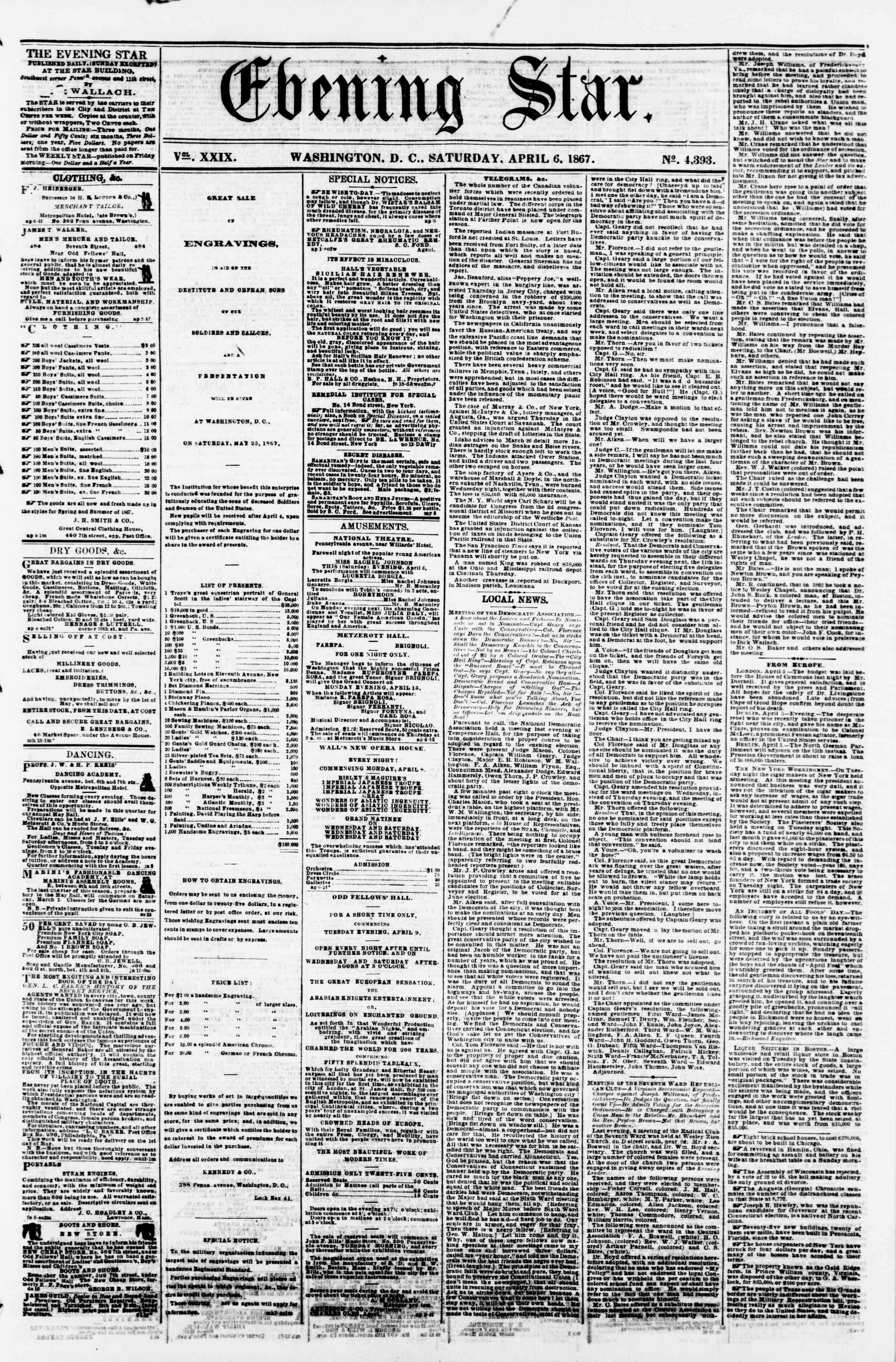 Newspaper of Evening Star dated April 6, 1867 Page 1
