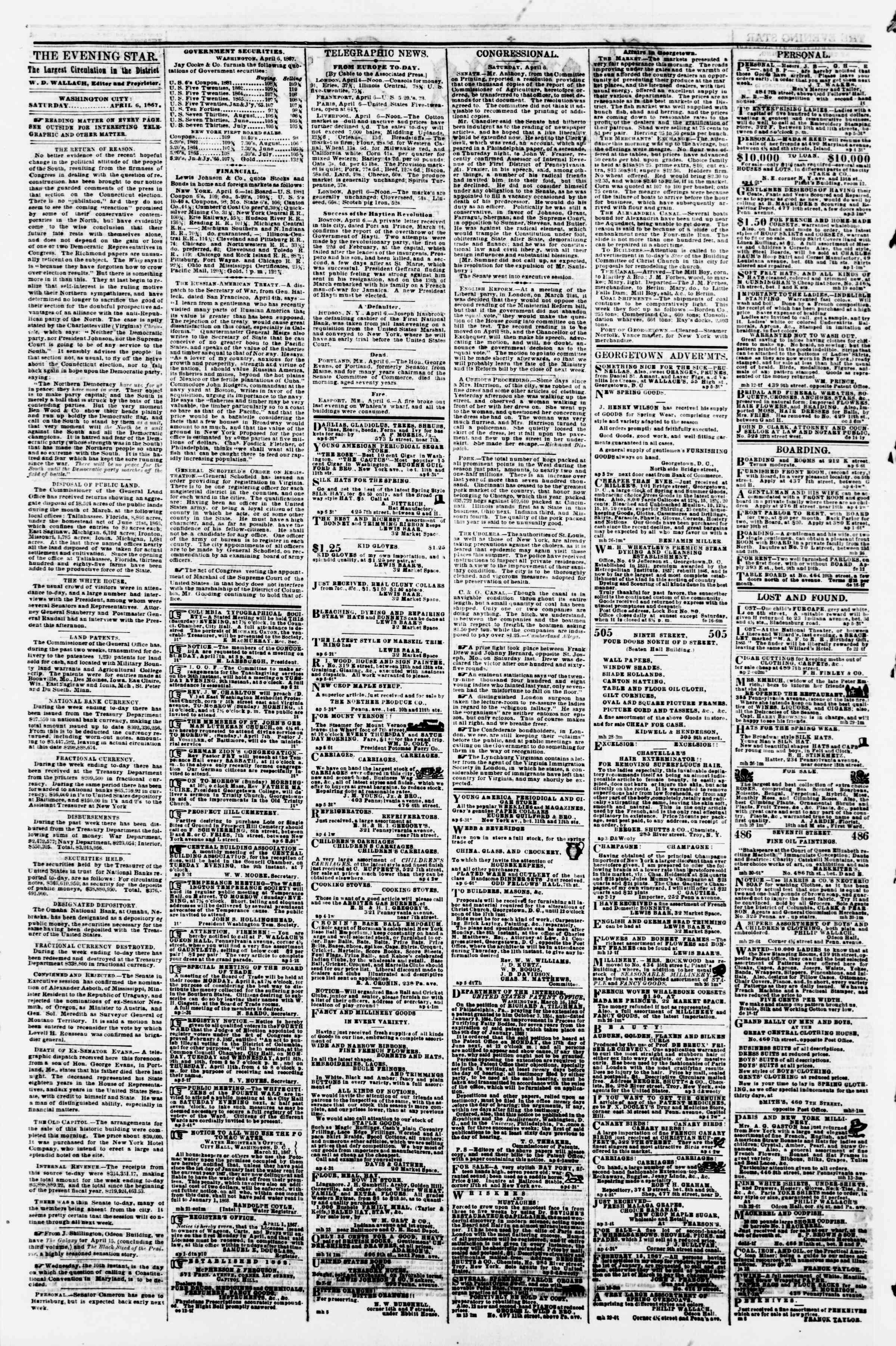 Newspaper of Evening Star dated April 6, 1867 Page 2