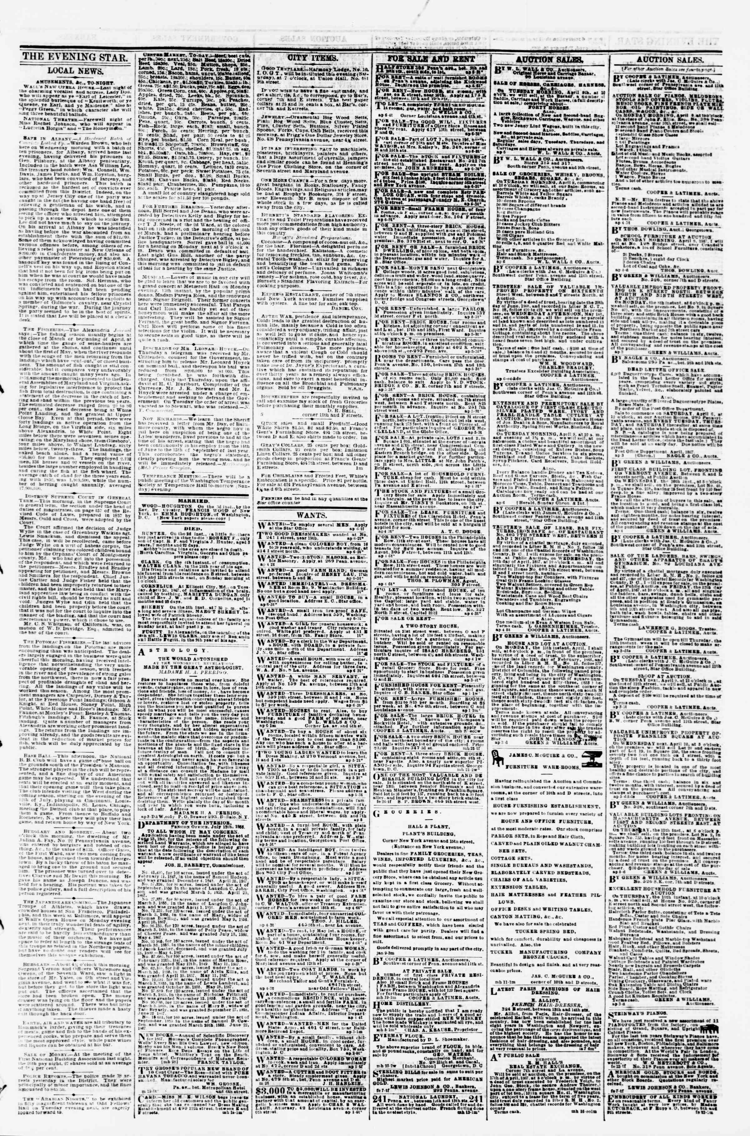 Newspaper of Evening Star dated April 6, 1867 Page 3