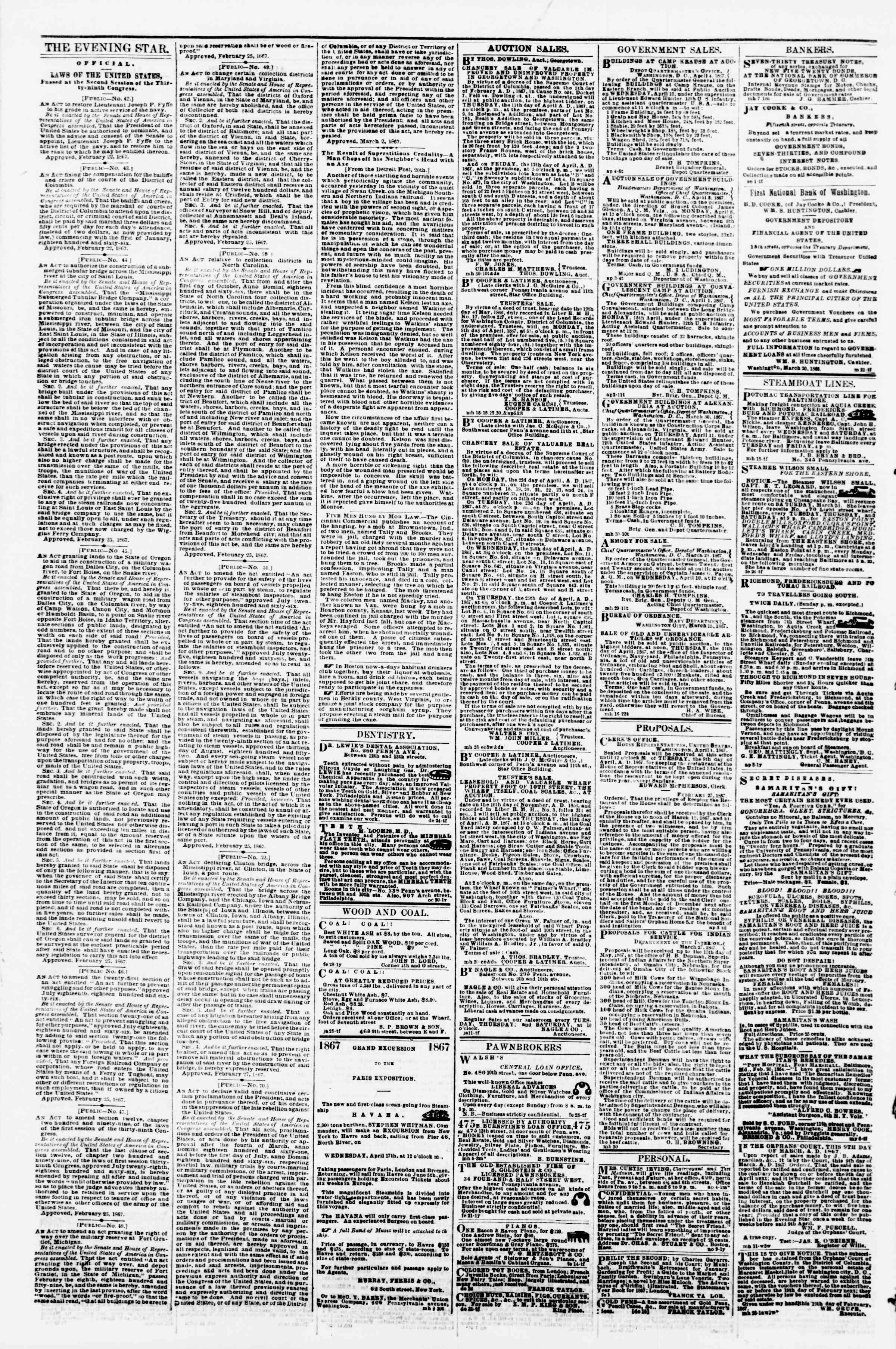 Newspaper of Evening Star dated April 6, 1867 Page 4