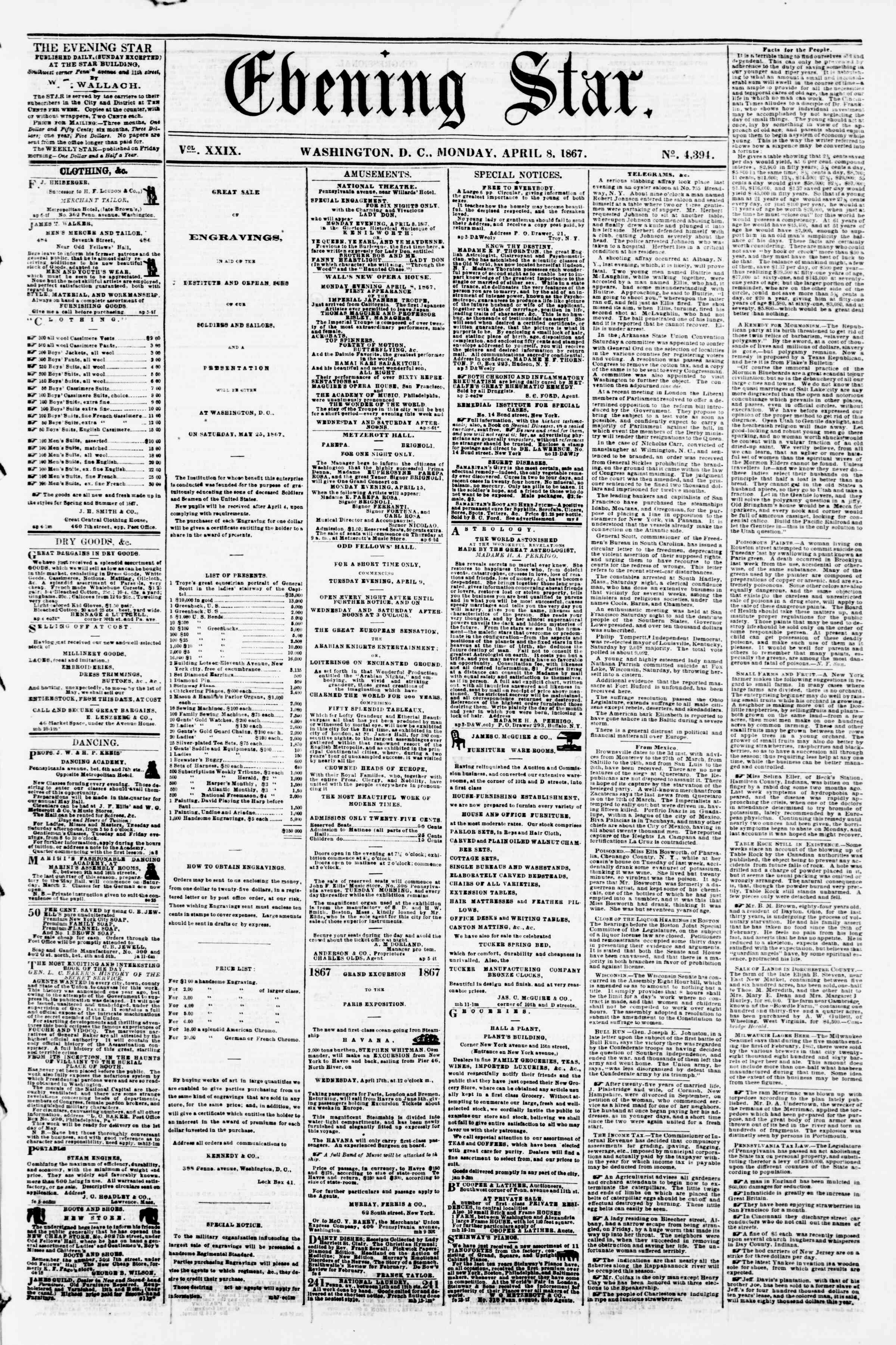 Newspaper of Evening Star dated April 8, 1867 Page 1