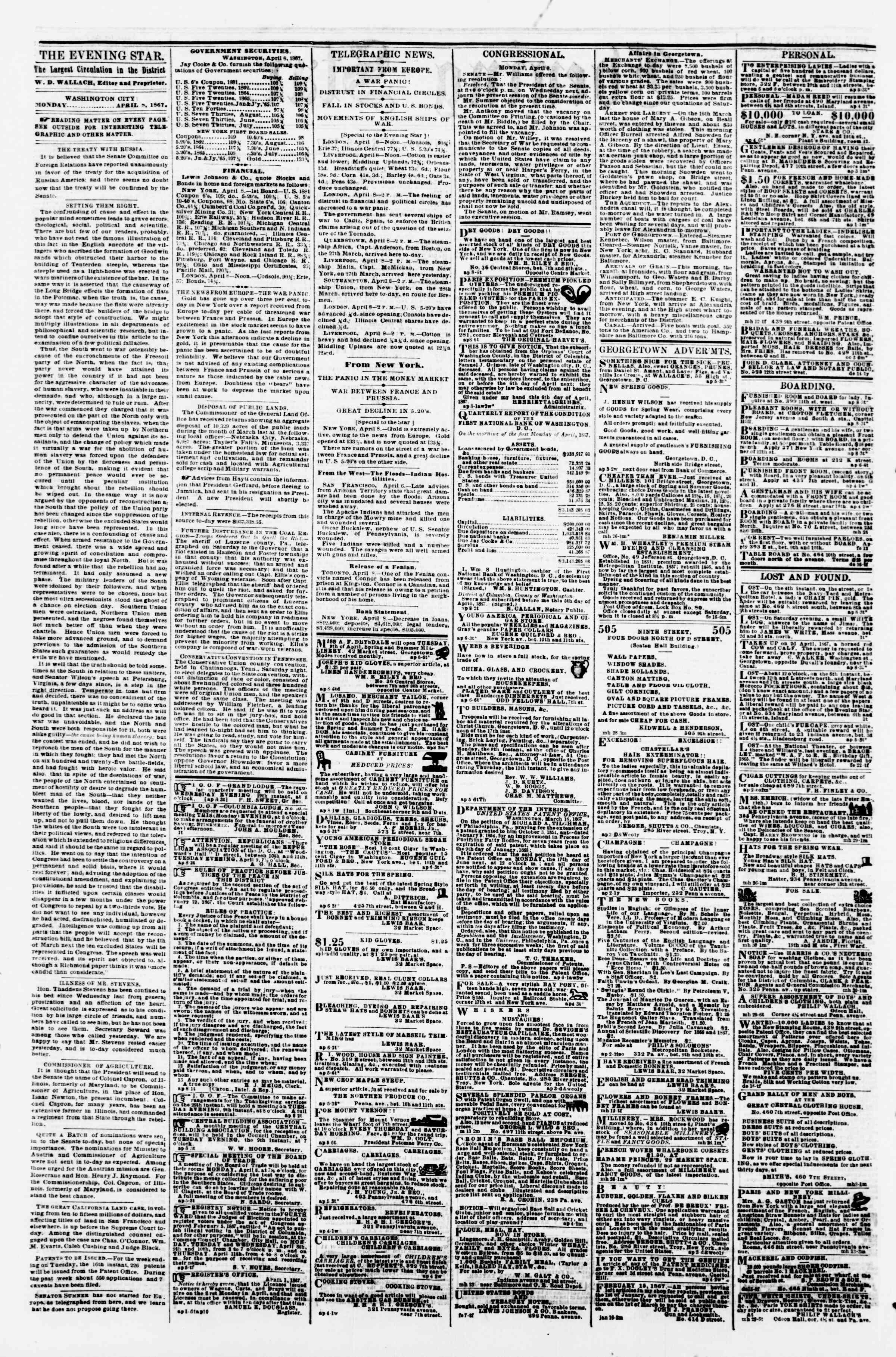 Newspaper of Evening Star dated April 8, 1867 Page 2
