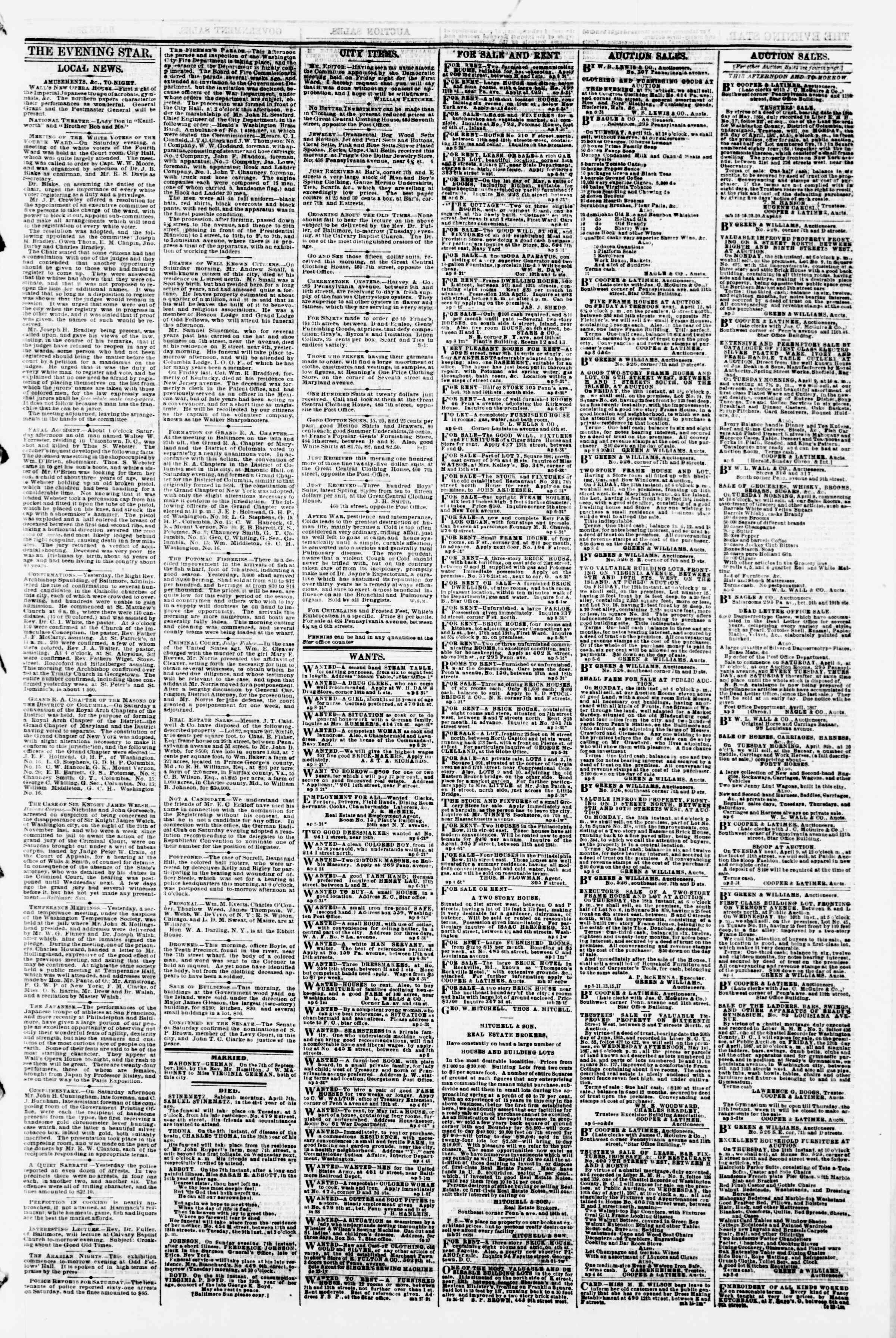 Newspaper of Evening Star dated April 8, 1867 Page 3
