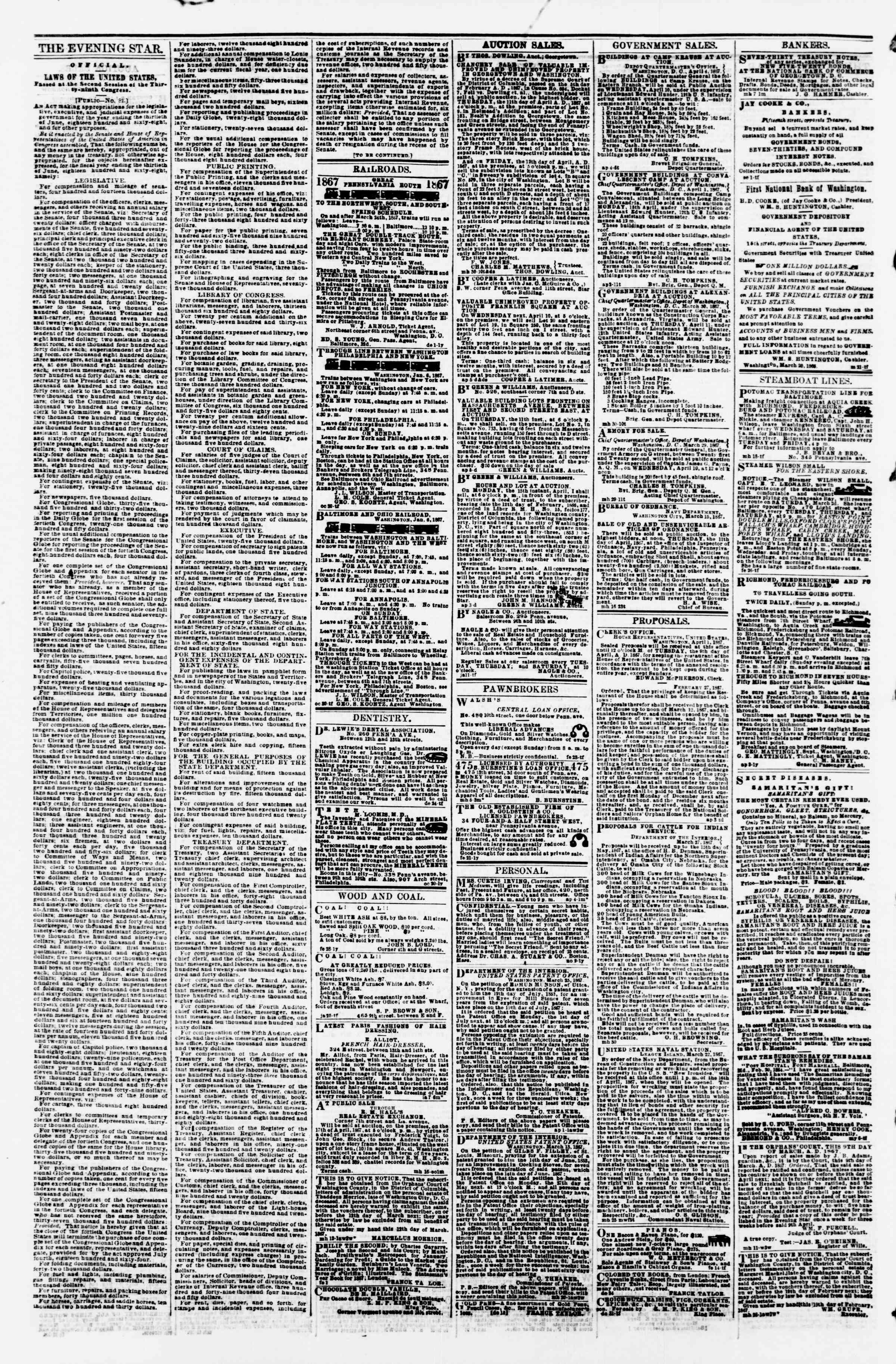 Newspaper of Evening Star dated April 8, 1867 Page 4