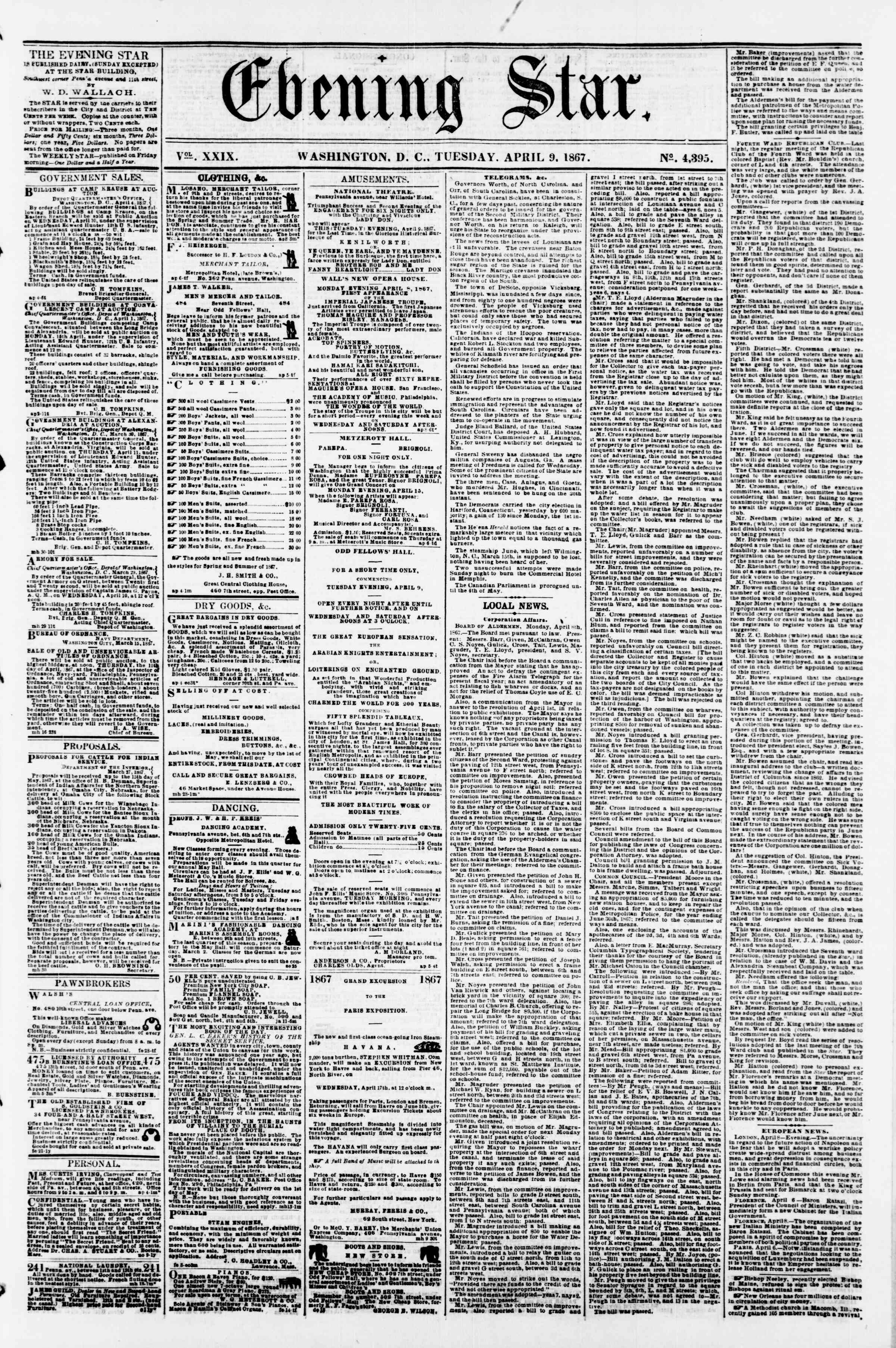 Newspaper of Evening Star dated April 9, 1867 Page 1