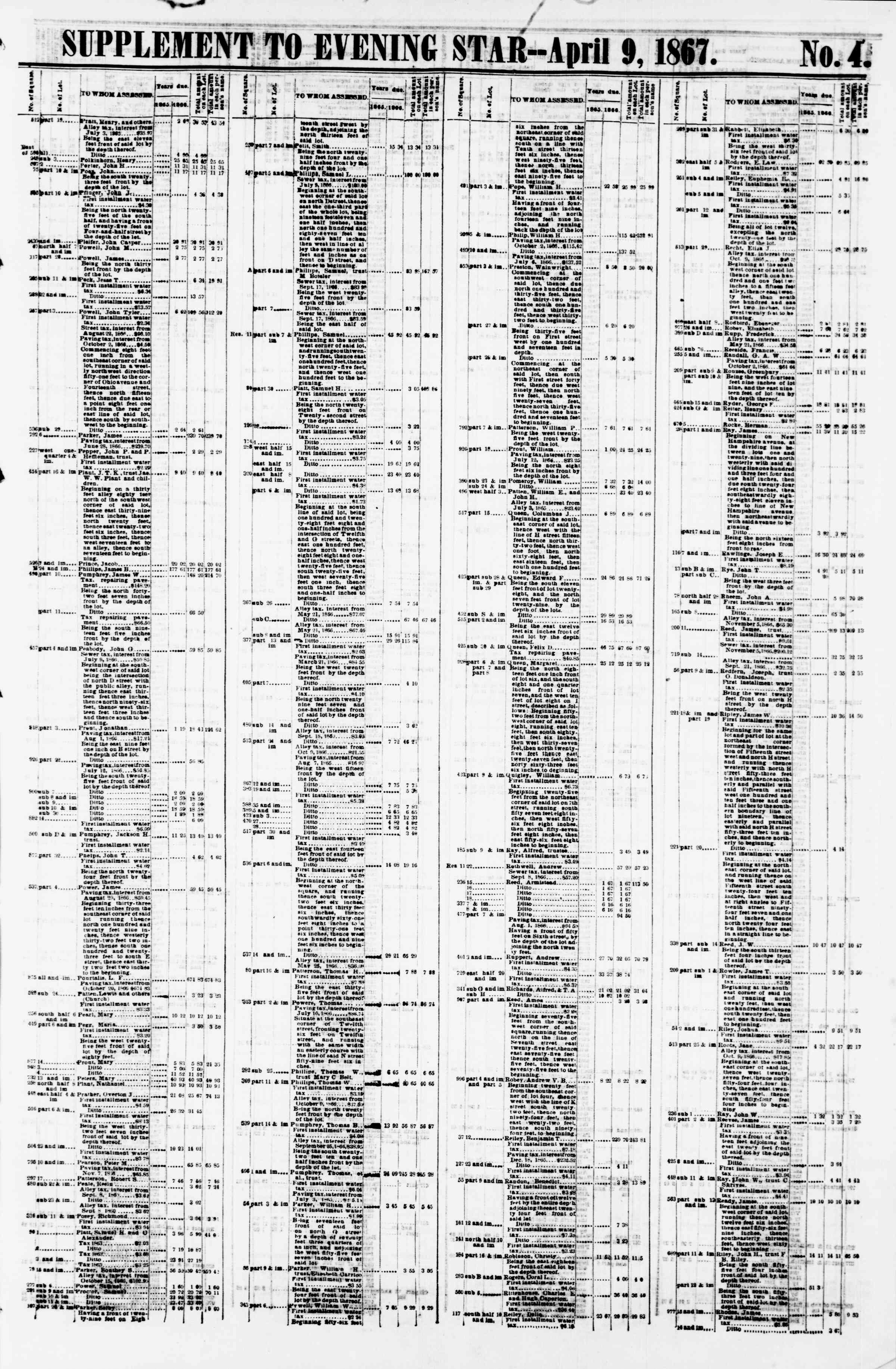 Newspaper of Evening Star dated April 9, 1867 Page 17