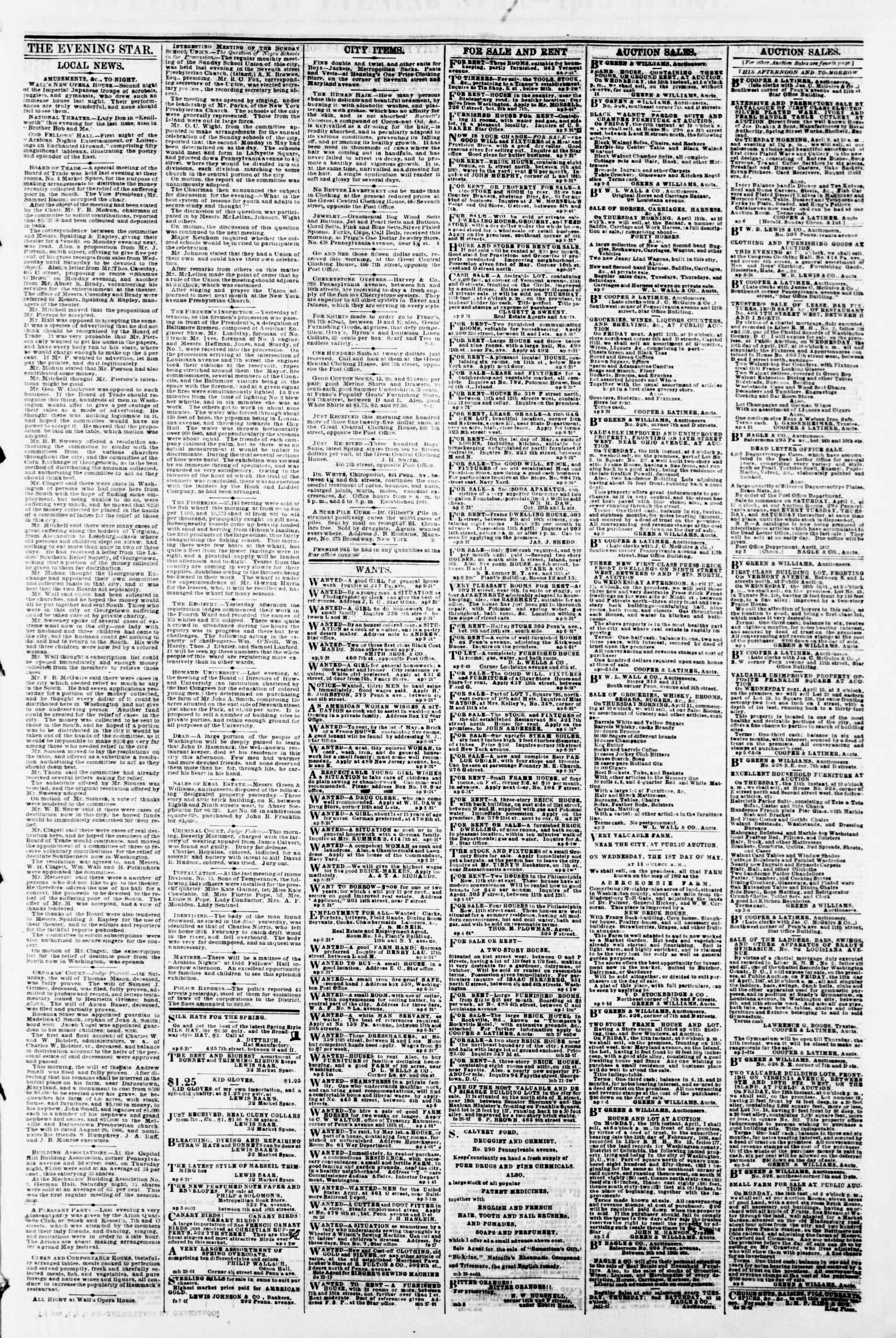 Newspaper of Evening Star dated April 9, 1867 Page 3