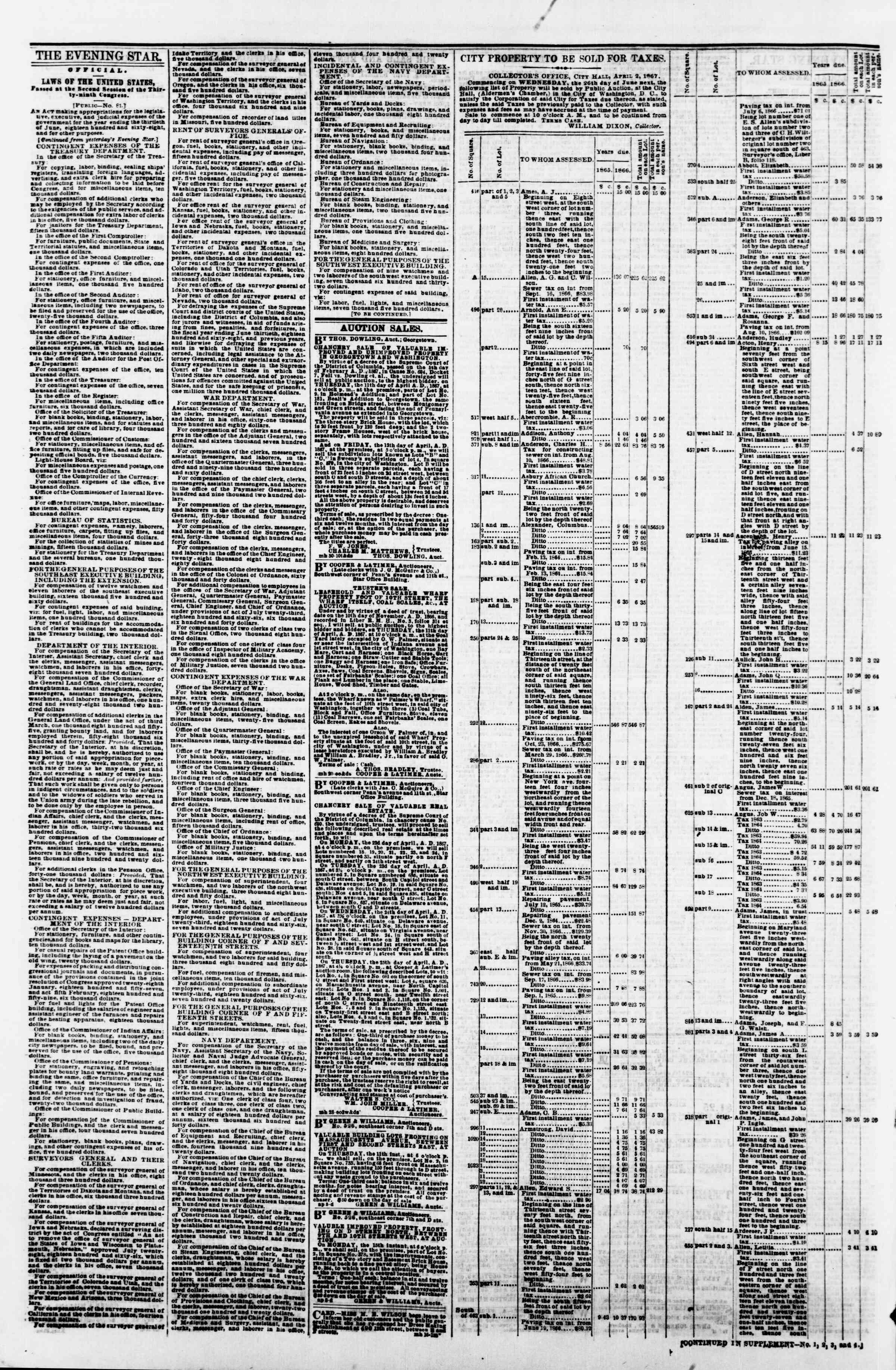 Newspaper of Evening Star dated April 9, 1867 Page 4