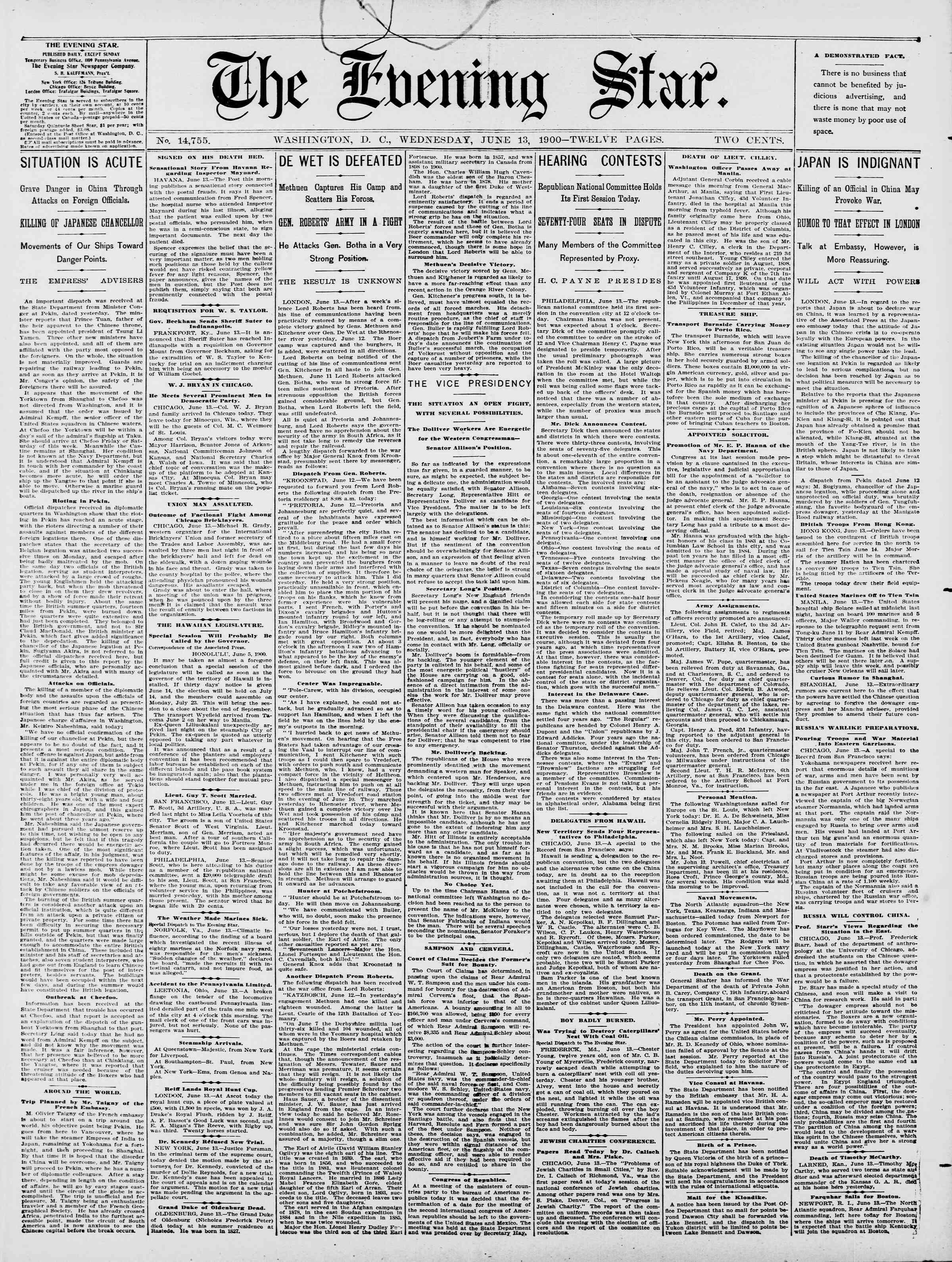 13 Haziran 1900 Tarihli Evening Star Gazetesi Sayfa 1