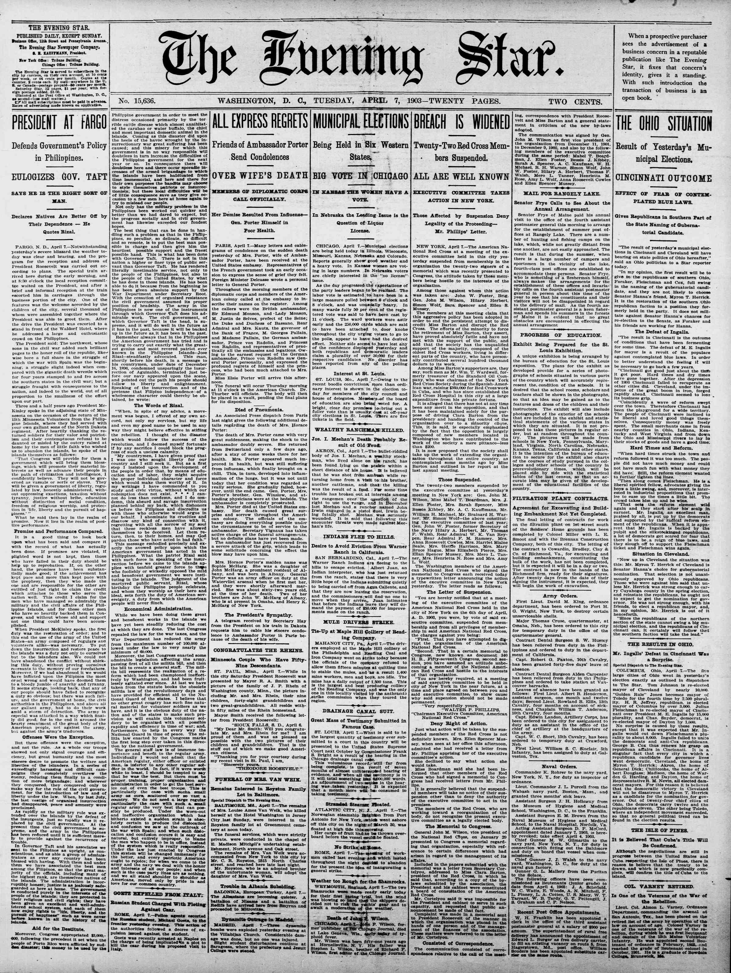 7 Nisan 1903 Tarihli Evening Star Gazetesi Sayfa 1