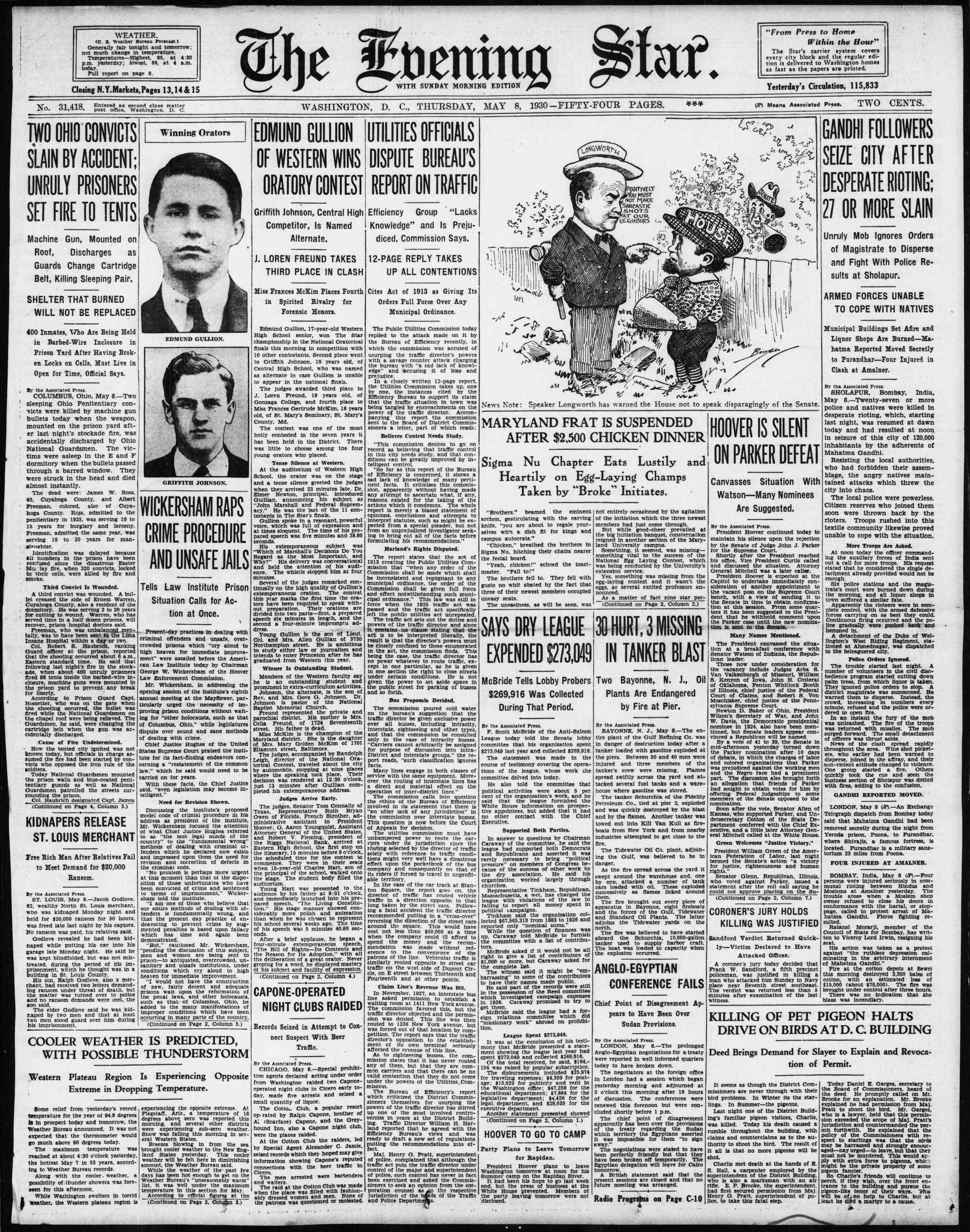 8 Mayıs 1930 tarihli Evening Star Gazetesi Sayfa 1