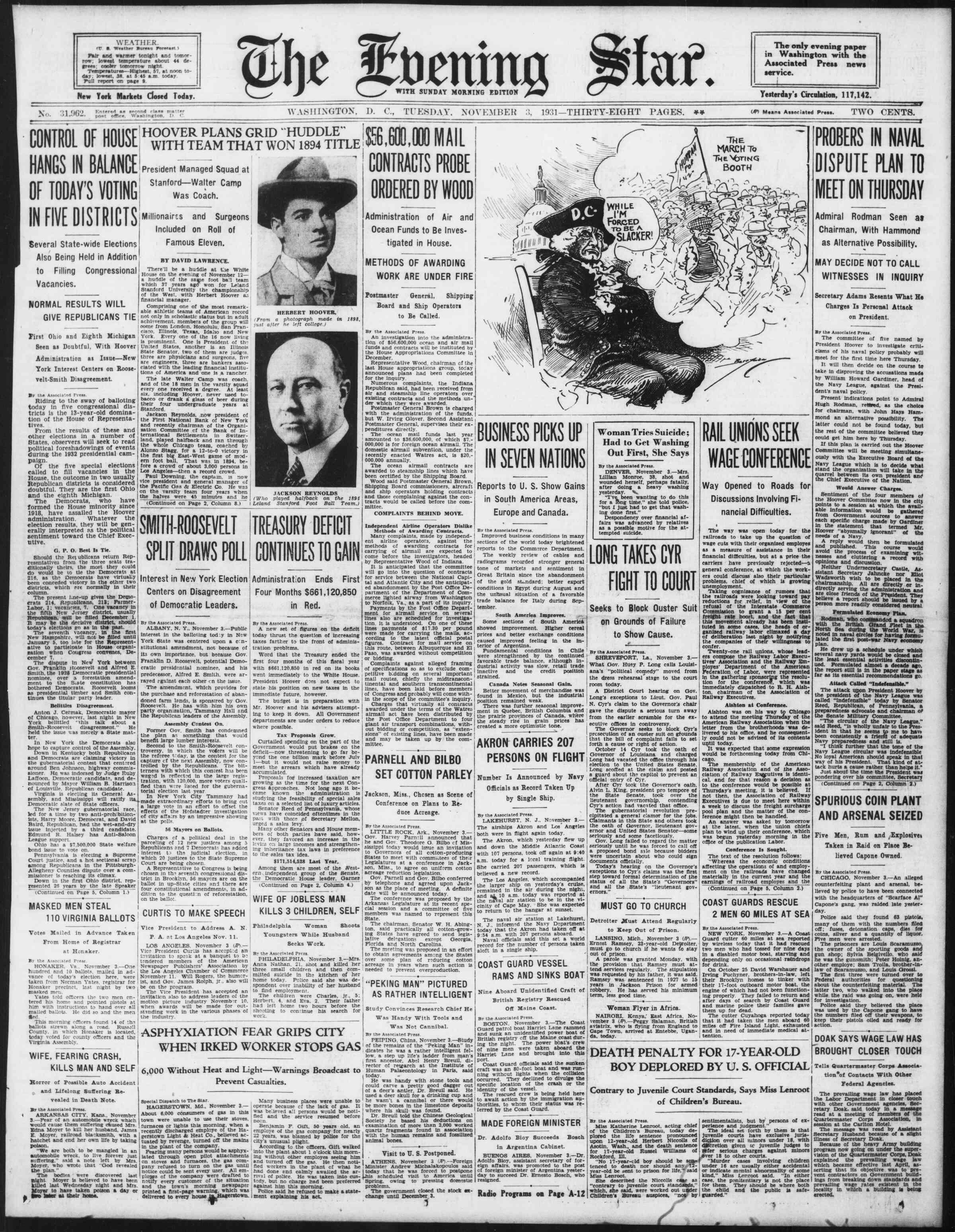 3 Kasım 1931 tarihli Evening Star Gazetesi Sayfa 1