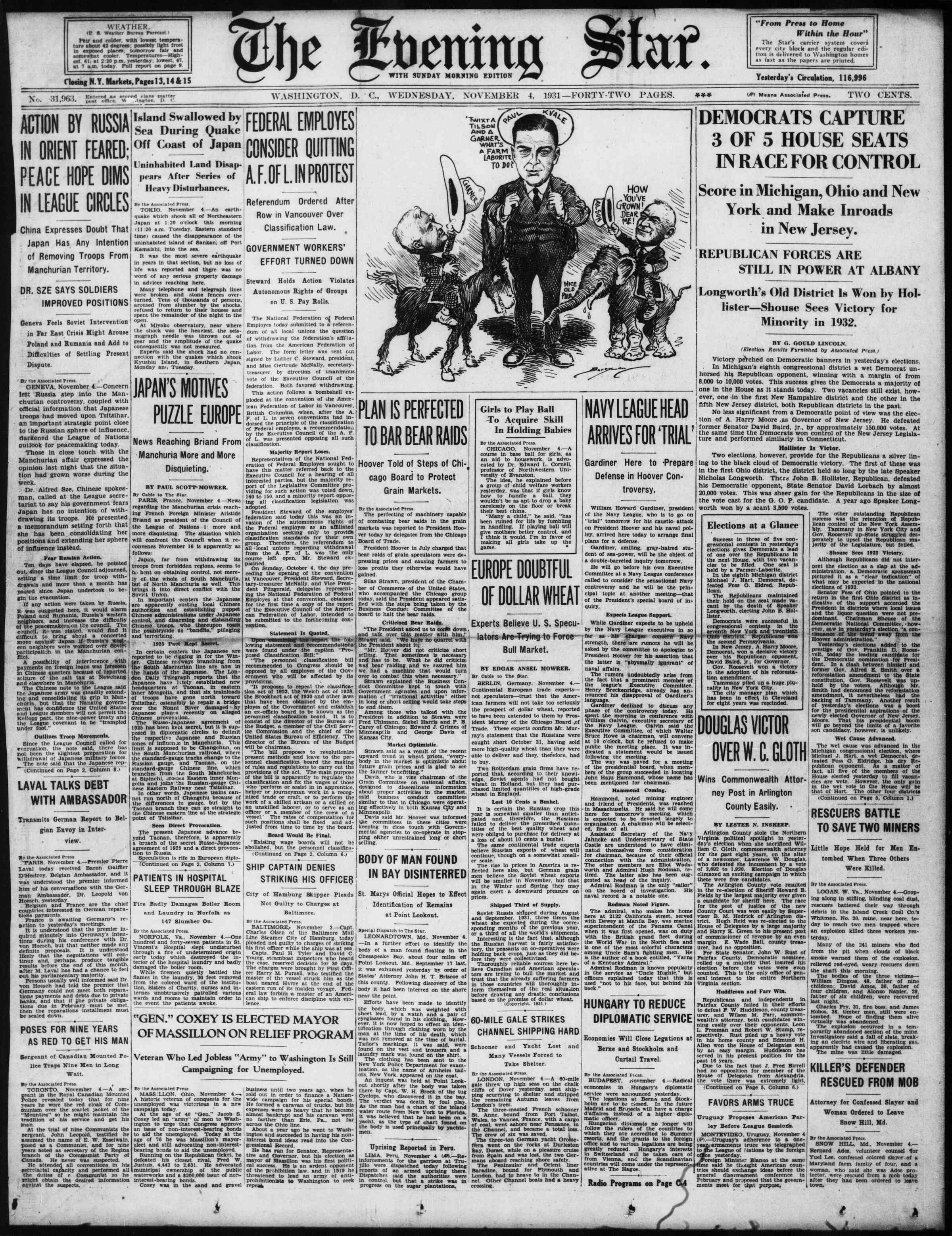 Newspaper of Evening Star dated November 4, 1931 Page 1