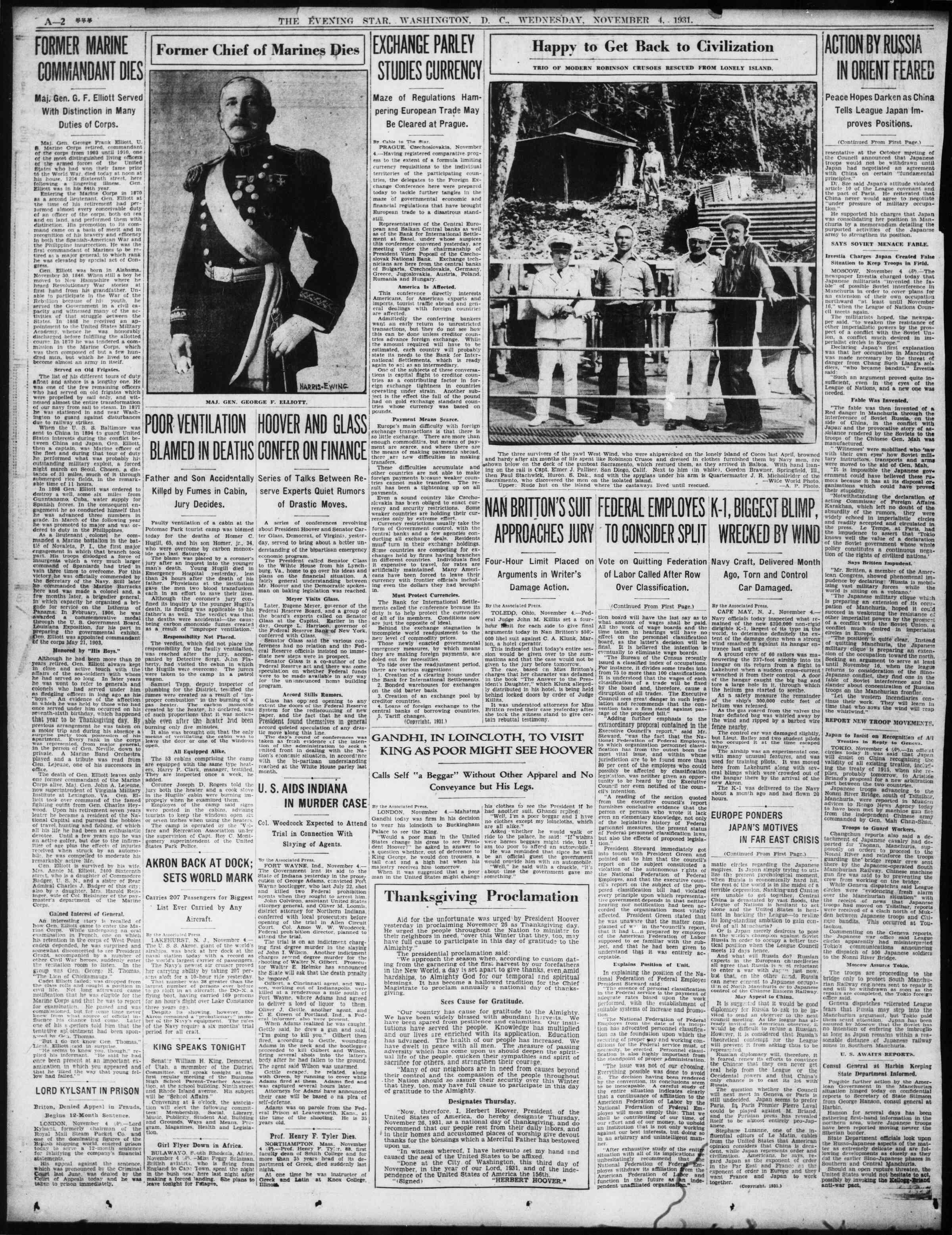 4 Kasım 1931 tarihli Evening Star Gazetesi Sayfa 2